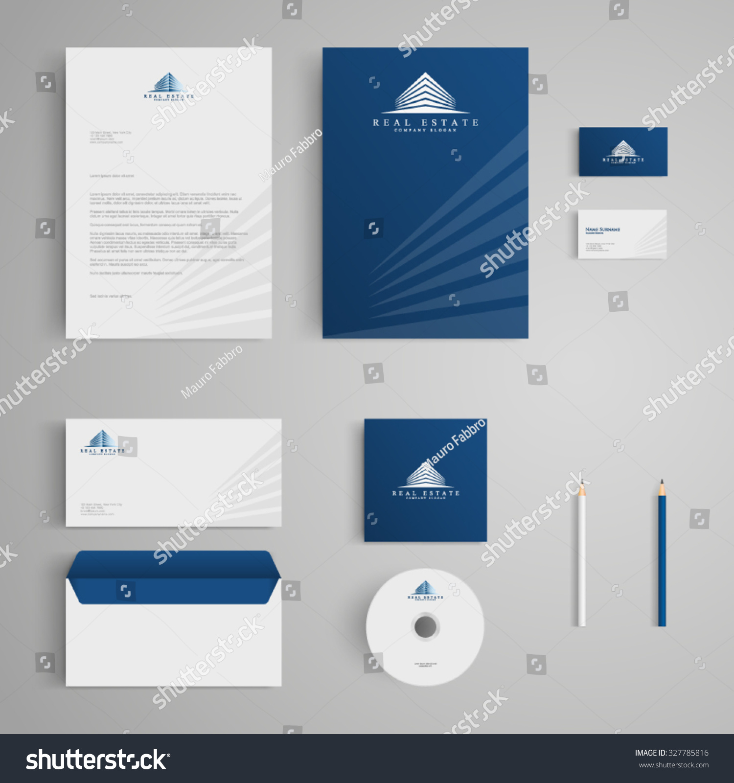 Letterhead Envelopes: Stationery Template Real Estate Logo Apartment Stock