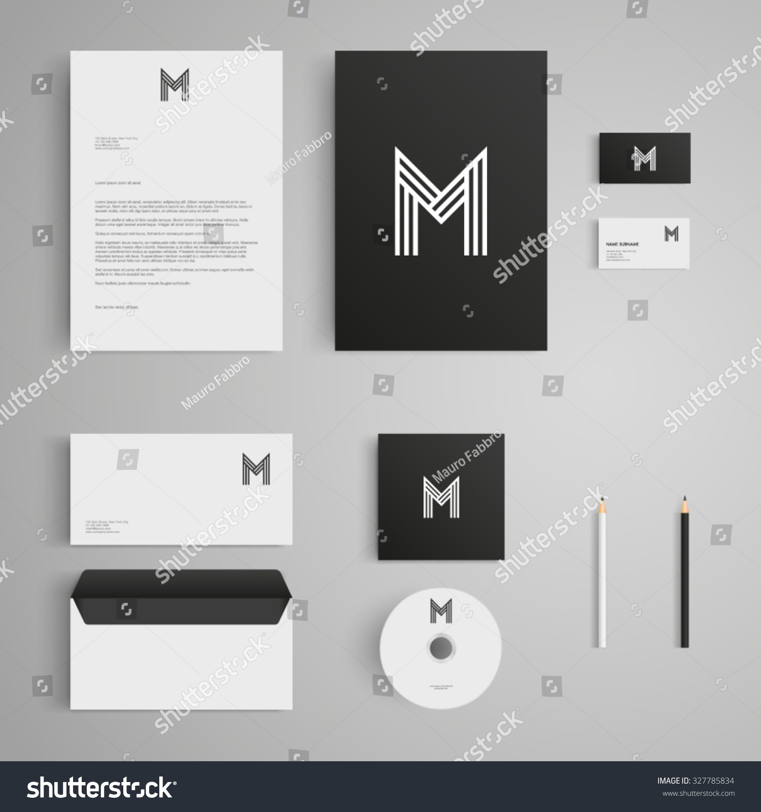 Blank Stationery And Corporate Identity Template Consist: Stationery Template With Letter M Logo. Corporate