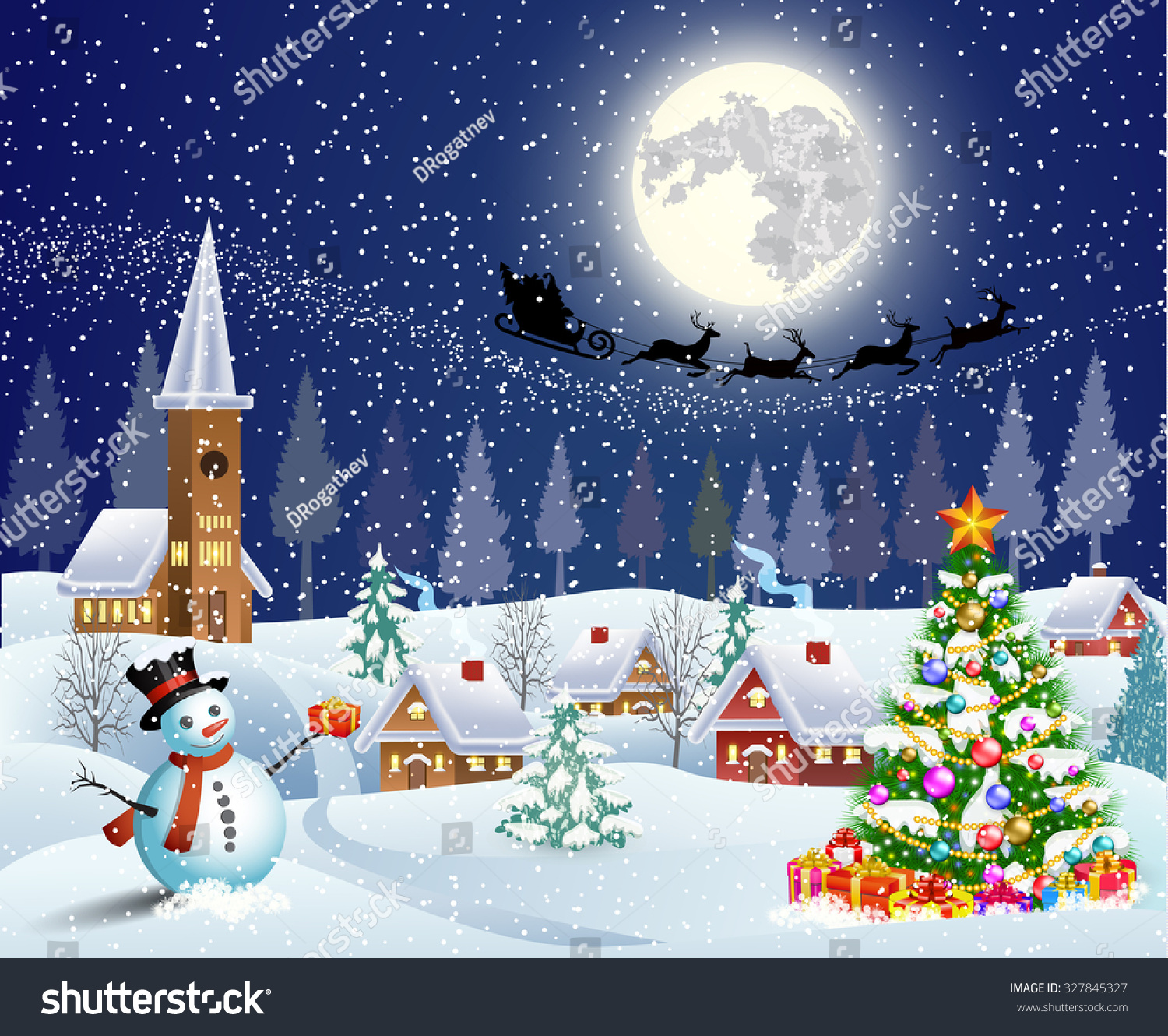 Christmas landscape christmas tree snowman gifbox stock for Christmas landscape images