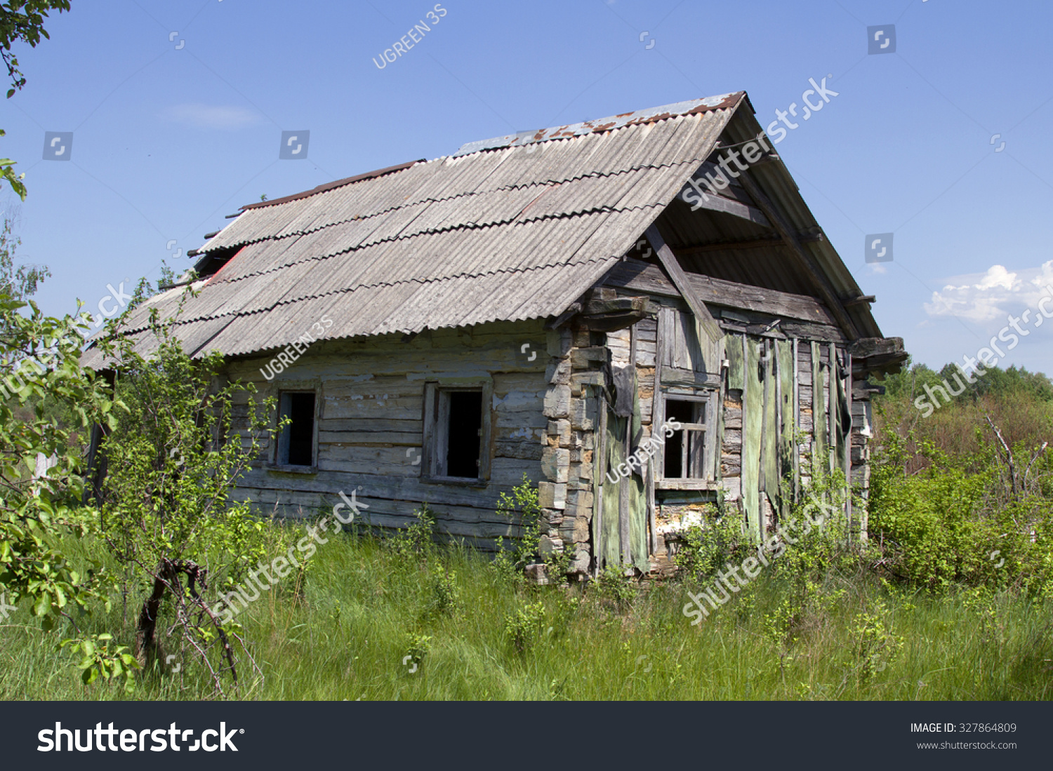 Old Wooden House Small Abandoned And Ruinous Country In Ukraine Buildings
