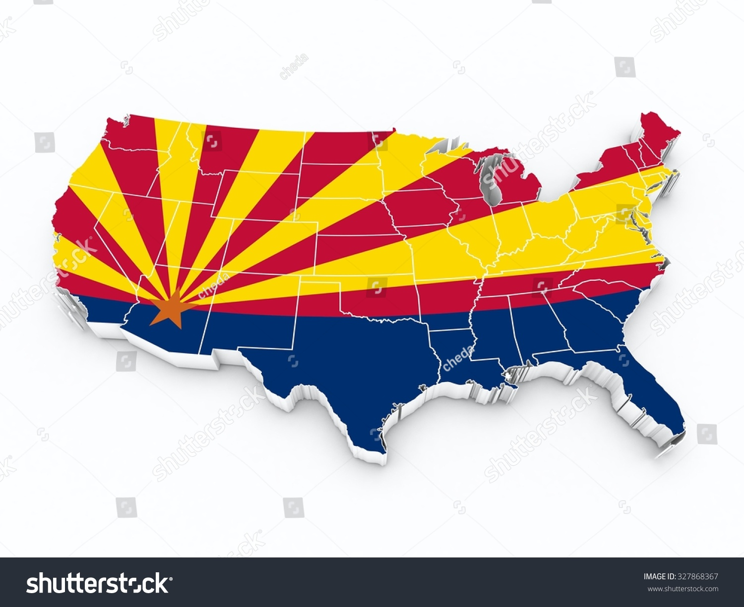 Usa Map Arizona State Flag All Stock Illustration - Arizona state in usa map