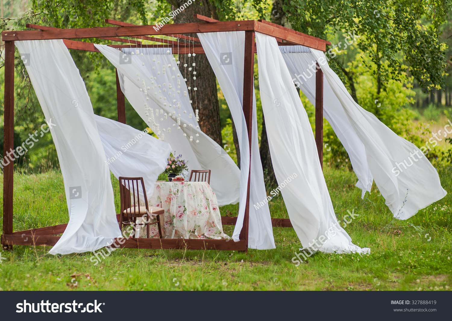 Gazebo Wedding Invitations: Outdoor Gazebo White Curtains Wedding Decorations Stock
