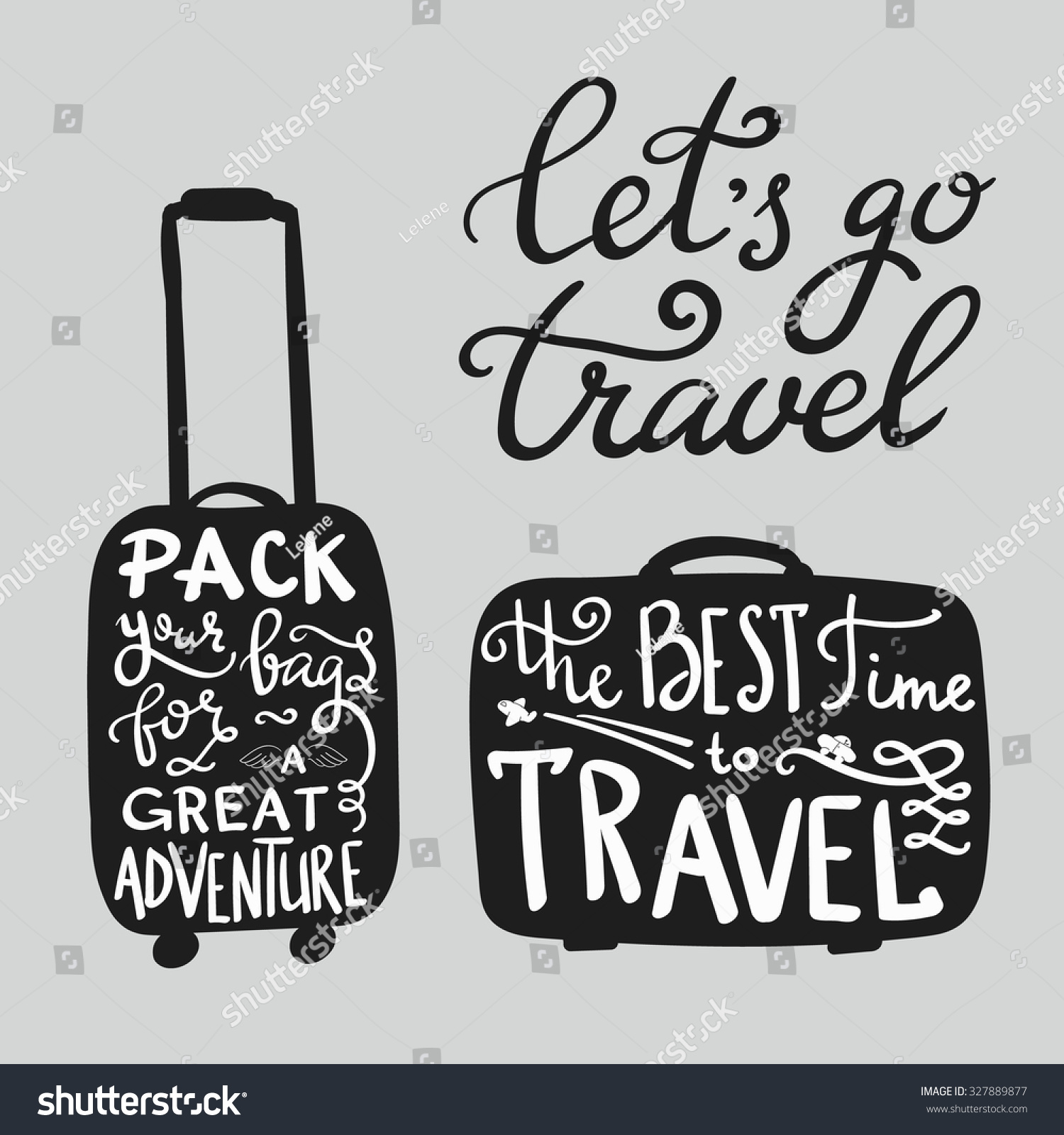 Travel Inspiration Quotes On Suitcase Silhouette Stock ...