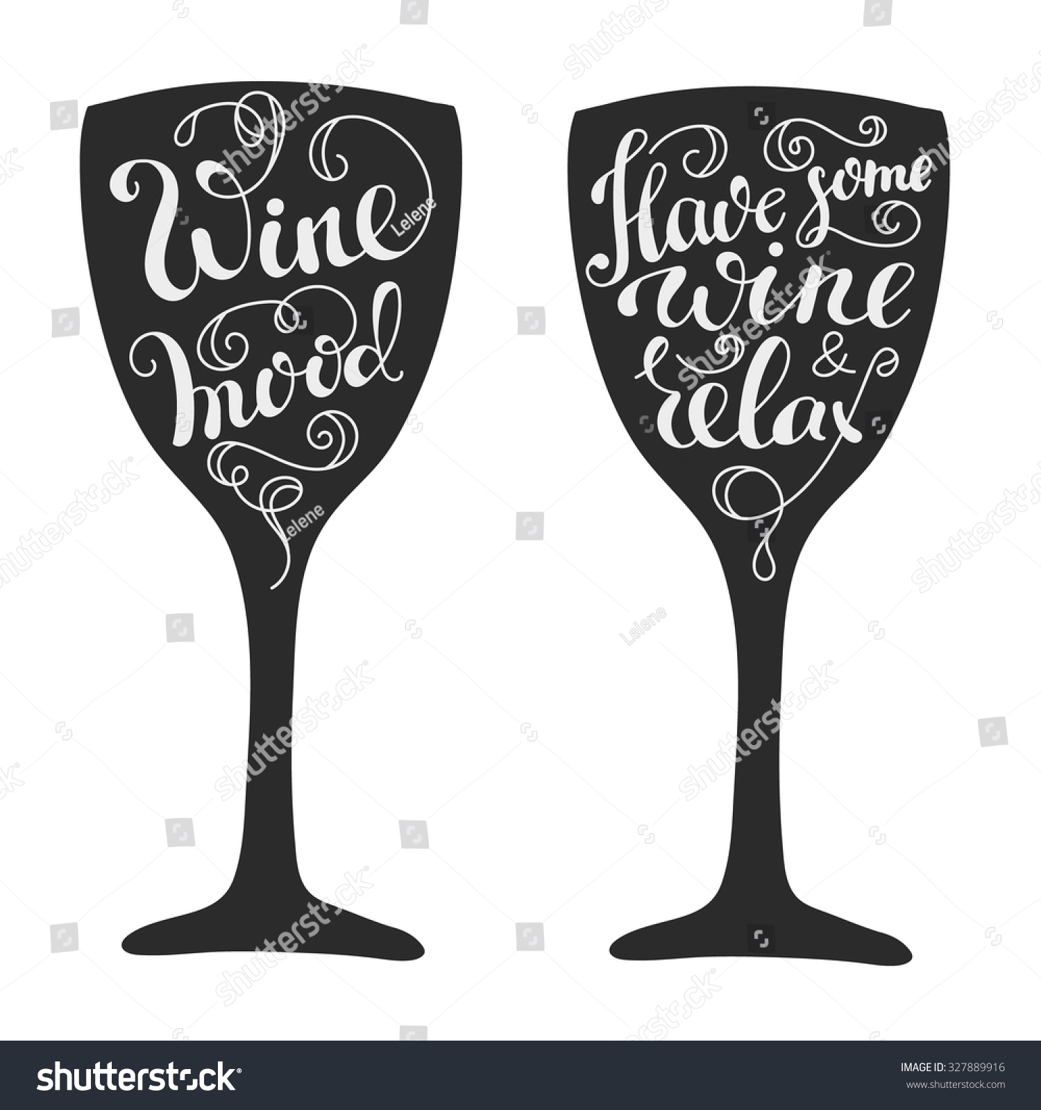 Quotes about wine on wine glass silhouette calligraphy style. Poster ...