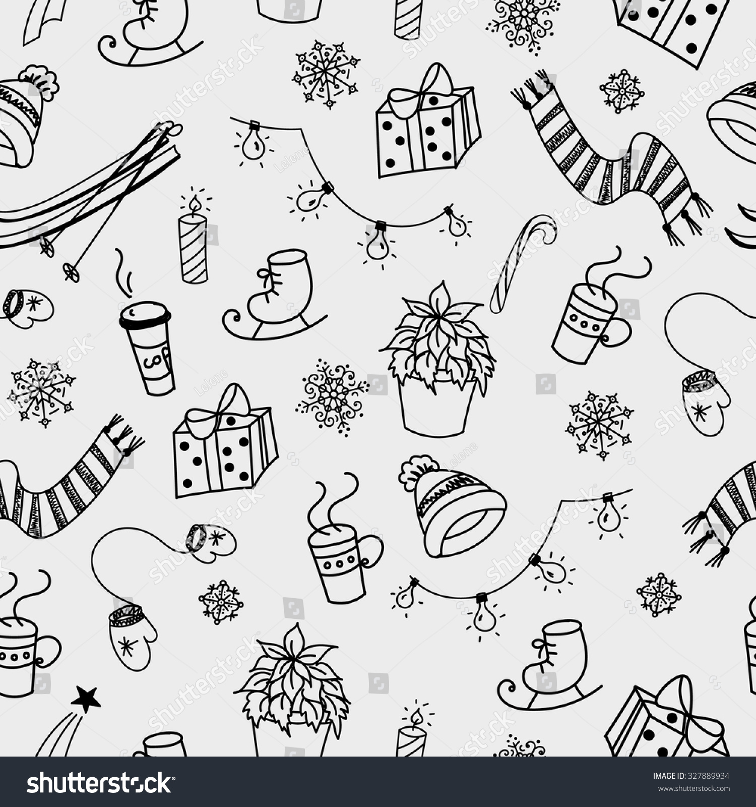 winter doodles hand drawn seamless pattern stock vector 327889934