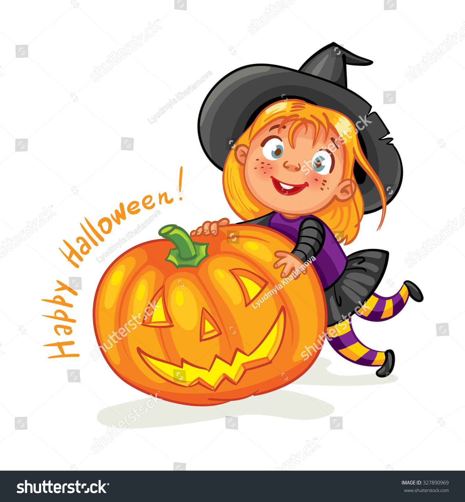 Happy Halloween Funny Little Child Colorful Stock Vector 327890969 ...