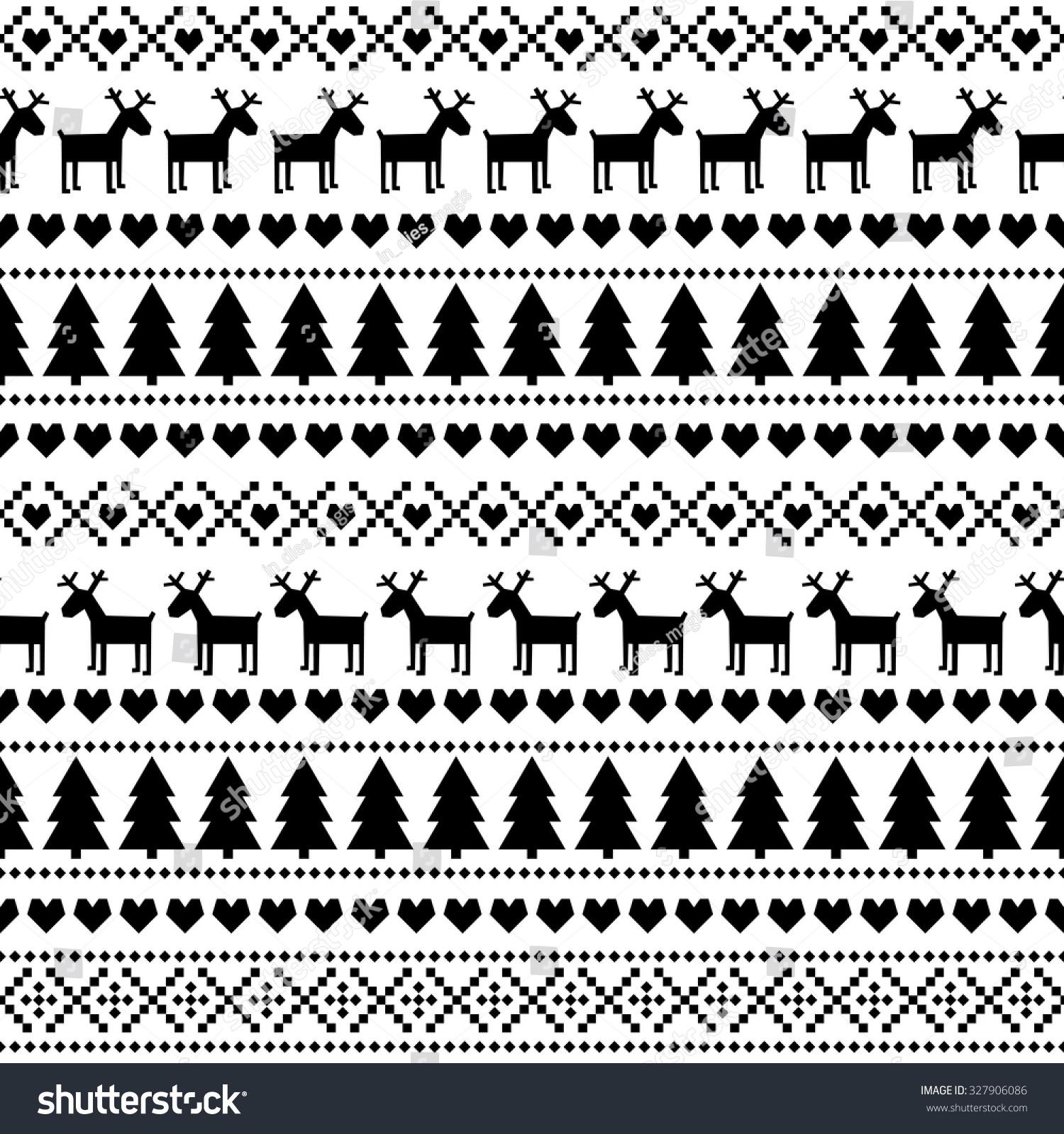 Black White Seamless Christmas Pattern Card Image Vectorielle De