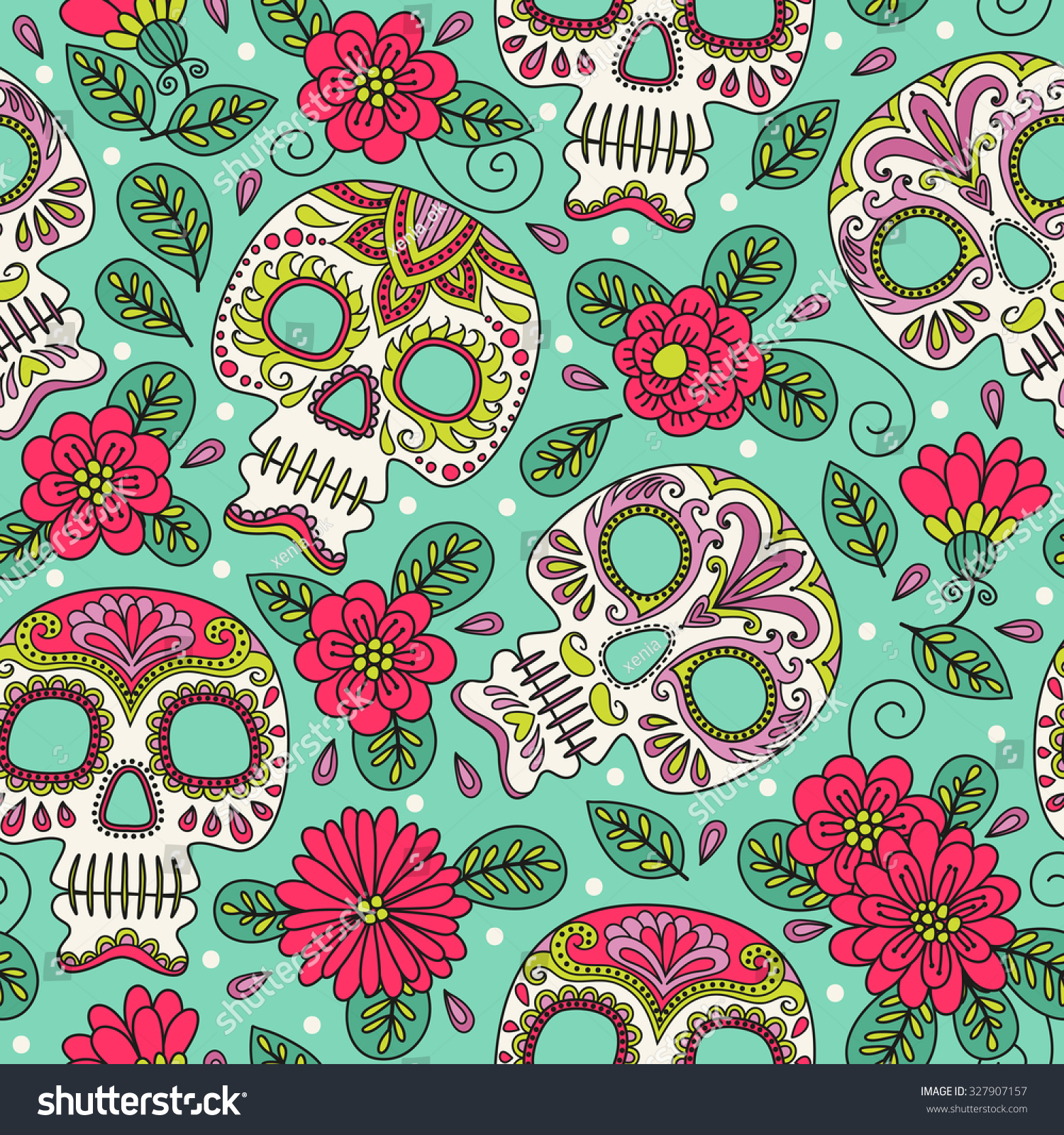 Skull And Flowers. Seamless Background. Mexican Day Of The ...