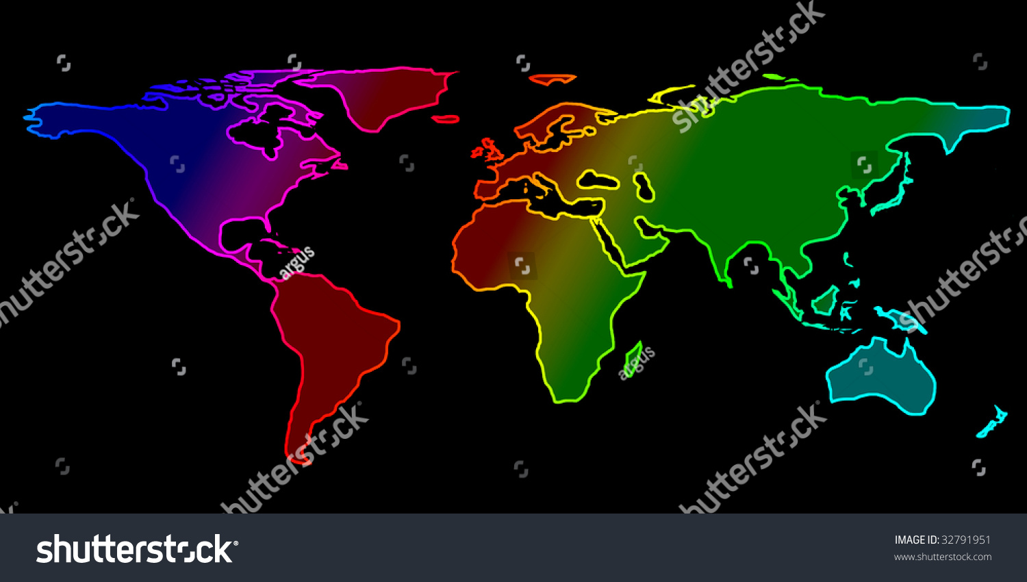 Colorful world map on black background stock illustration 32791951 colorful world map on a black background gumiabroncs Image collections