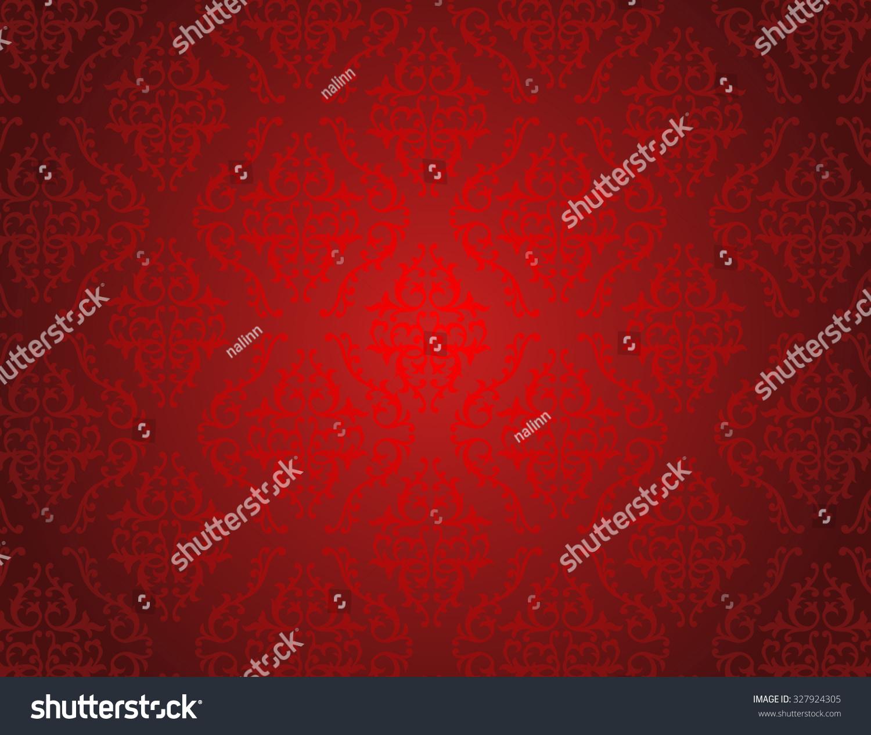 Elegant Red Shiny Damask Seamless Pattern Stock Illustration ...