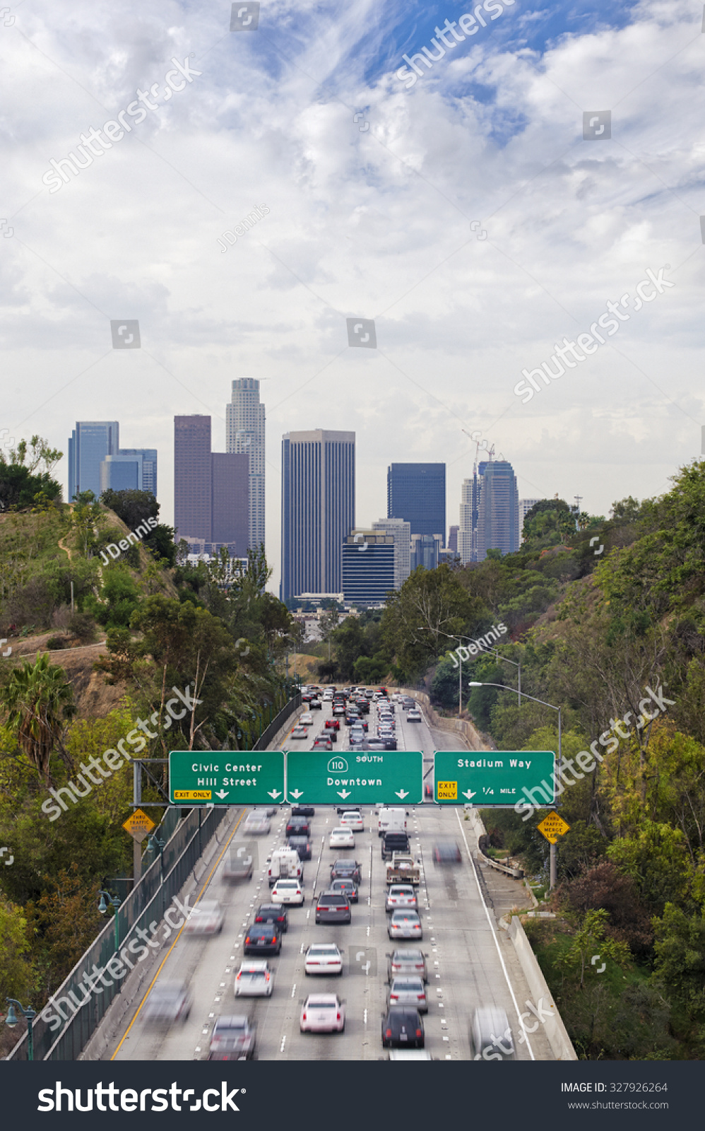 Rush Hour Traffic On Interstate Highway Stock Photo (Edit