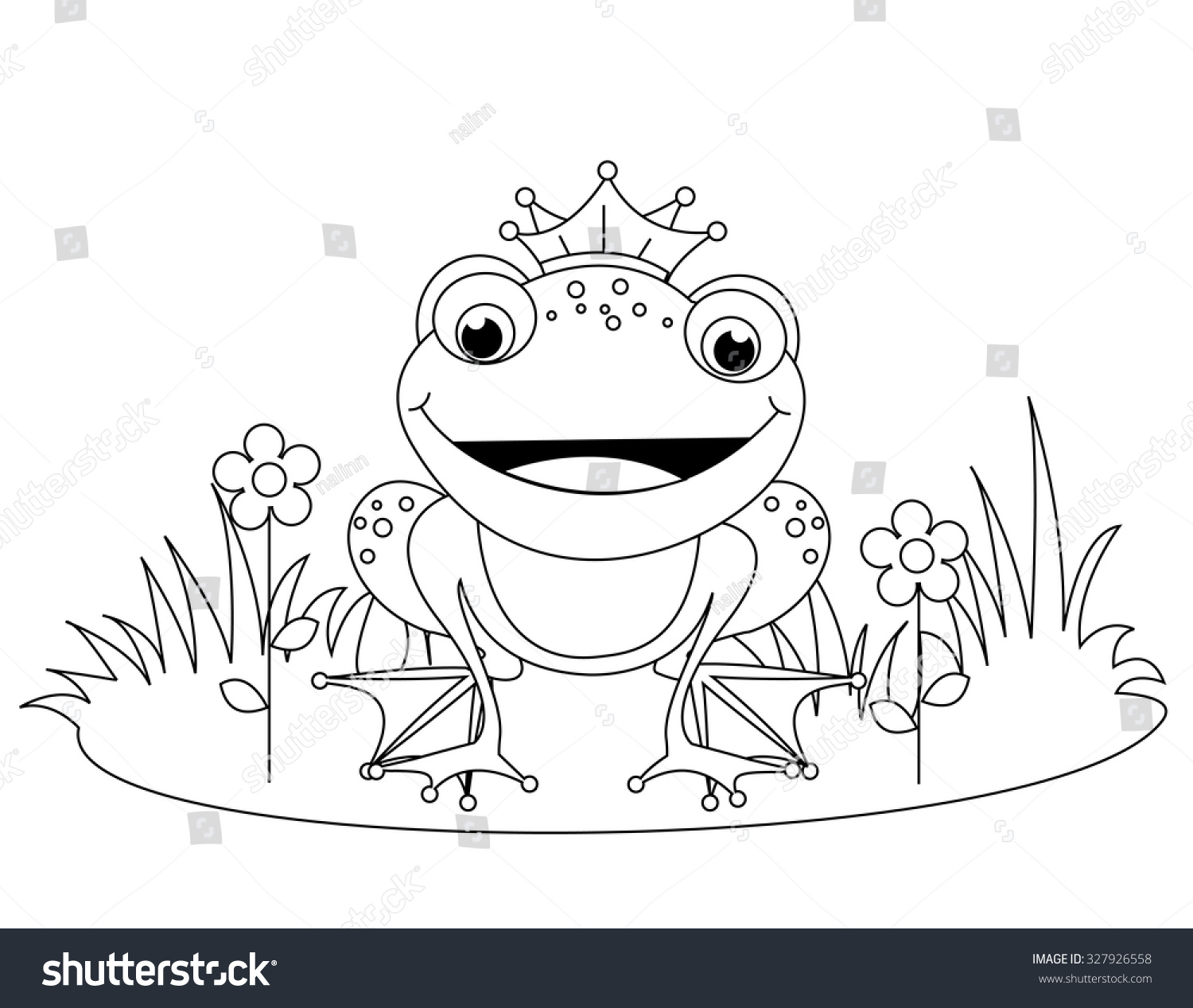 Cute Frog Prince Coloring Book Page Stock Illustration 327926558 ...
