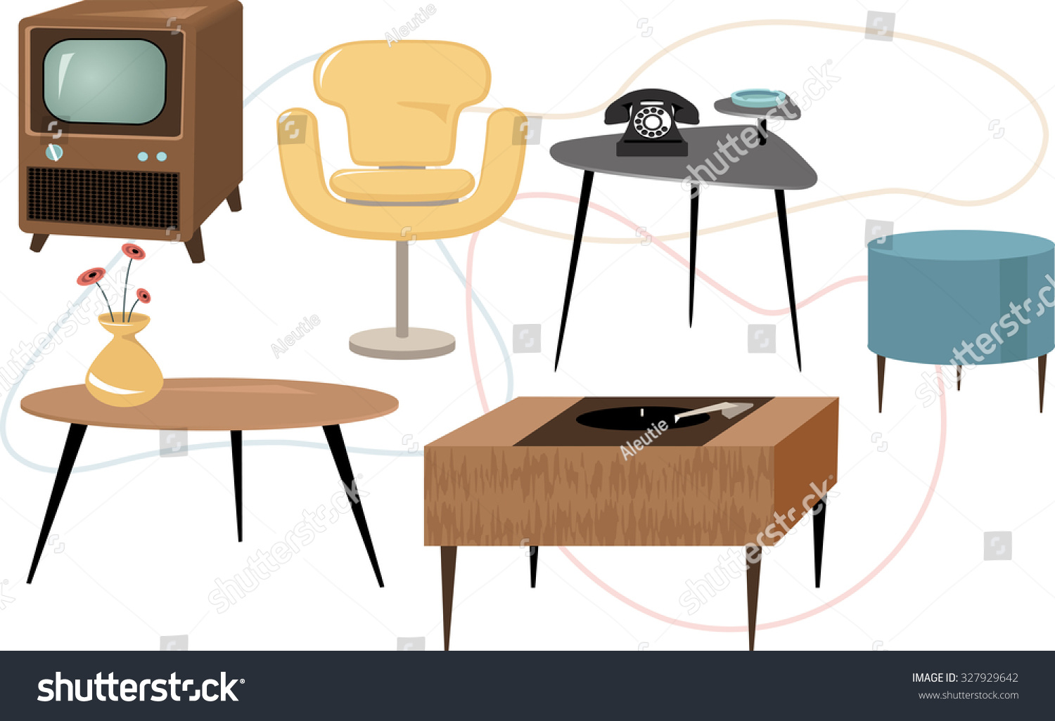Set Of 1950s Style Mid Century Modern Furniture, EPS 8 Vector Illustration,  Generalized