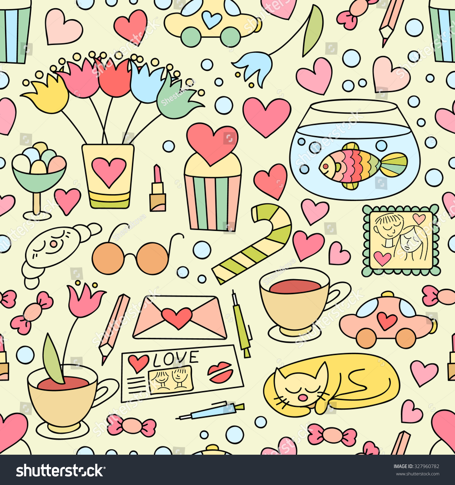 Vector Doodle Seamless Pattern Sweets Flowers Stock Vector Royalty
