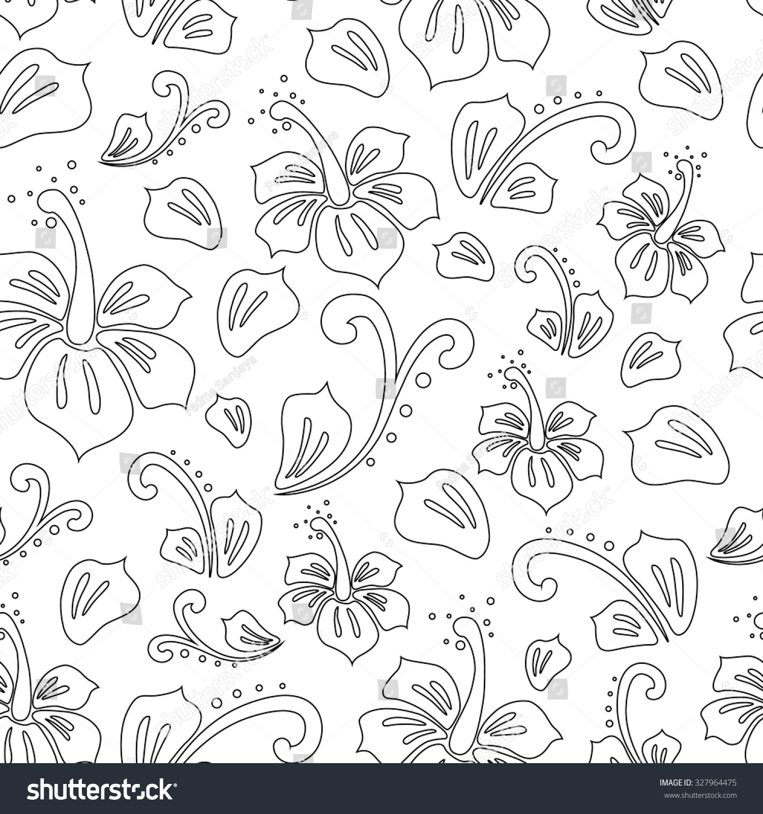 Seamless Pattern Hibiscus Flower Outline White Stock Vector Royalty
