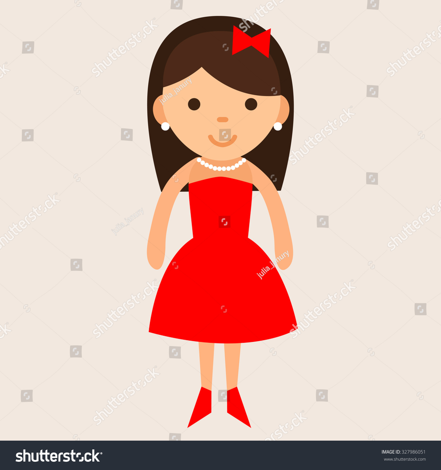 cartoon woman in red dress stock vector 327986051