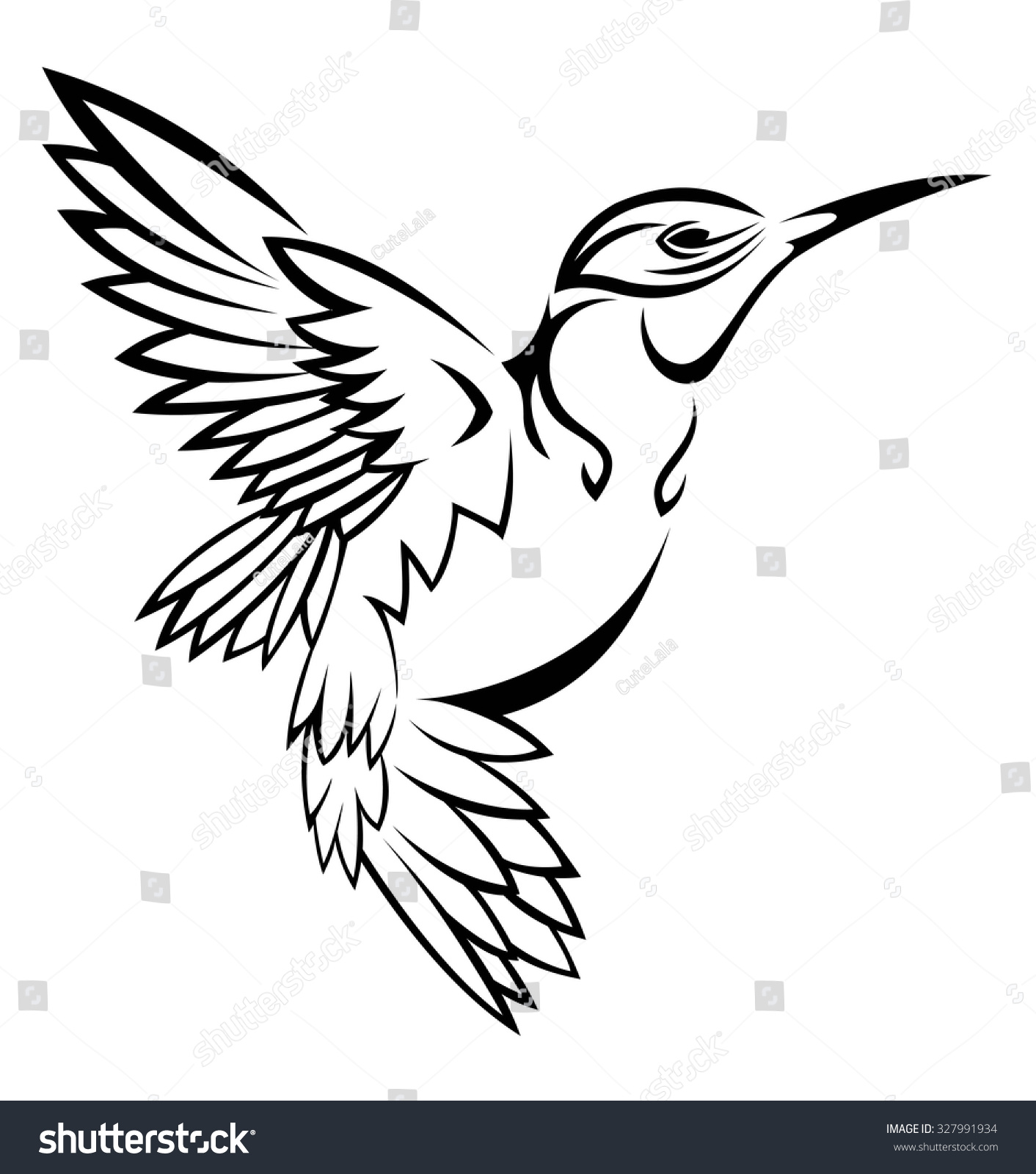 hummingbird tattoo stock vector 327991934 shutterstock