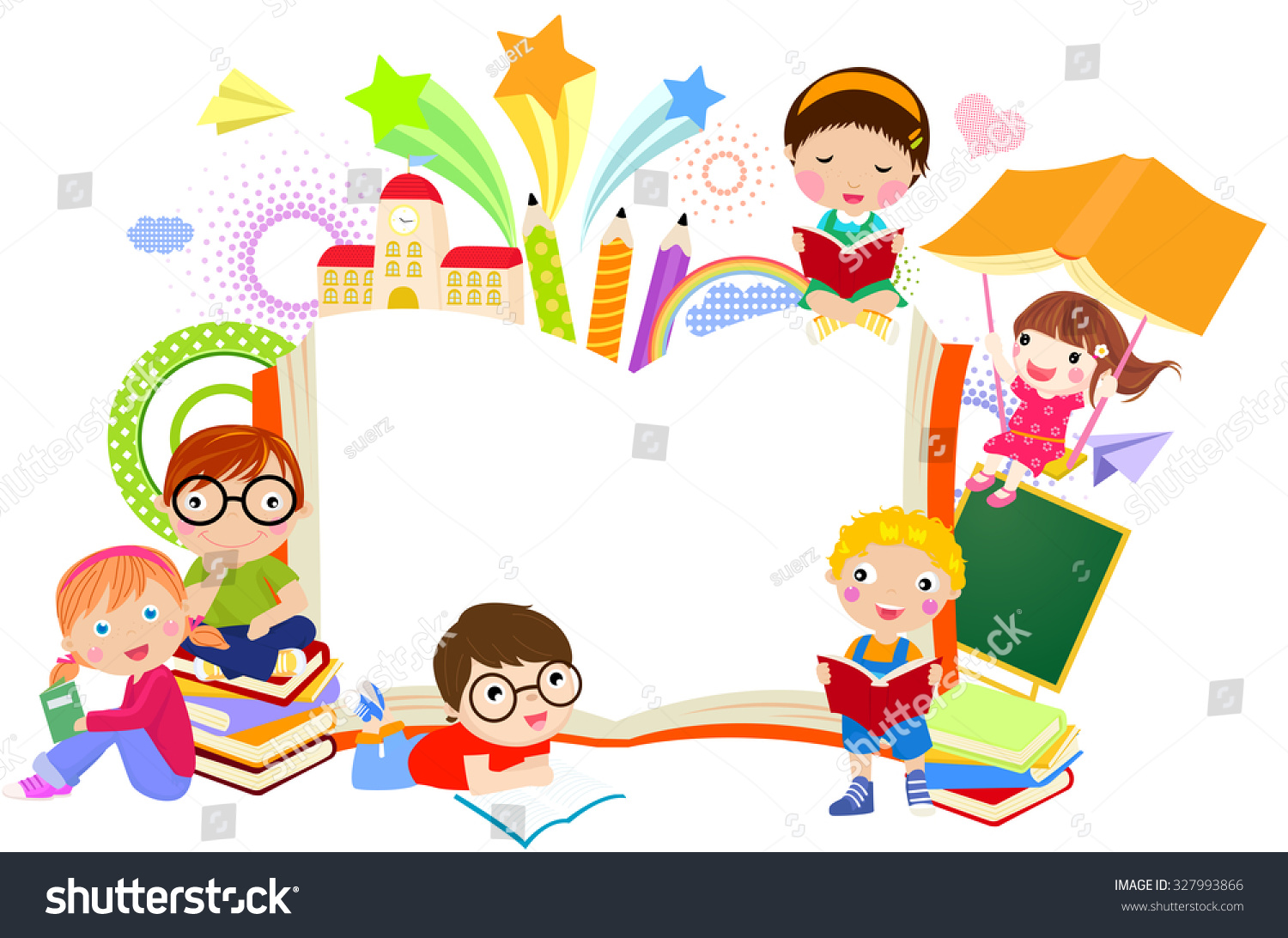 Children S Book Cover Wall Art ~ Kids and book frame stock vector shutterstock