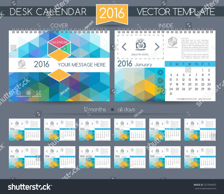 Hotel Calendar Design : Design desk calendar vector templates stock