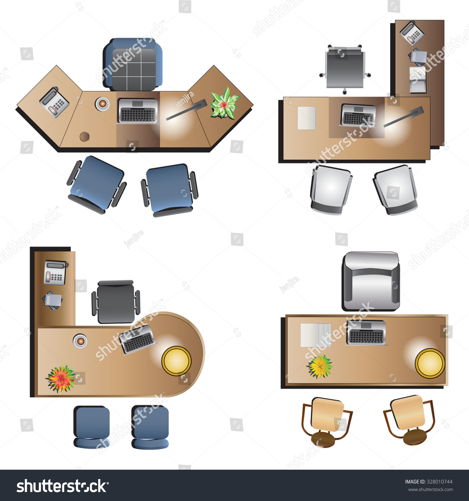 Furniture top view images - Office Furniture Top View For Interior Vector Illustration