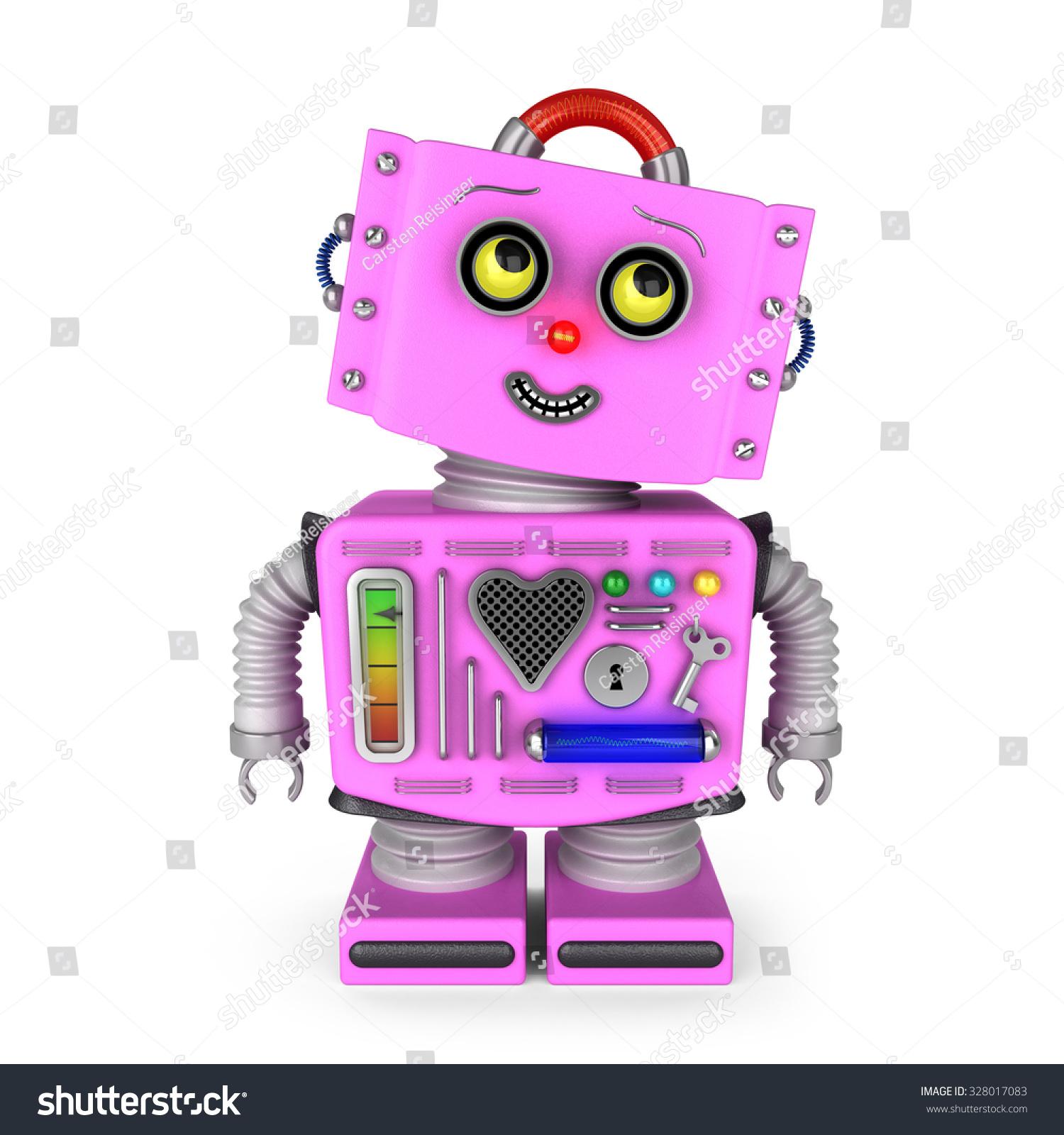 Pink Toy Robot Girl Over White Stock Illustration