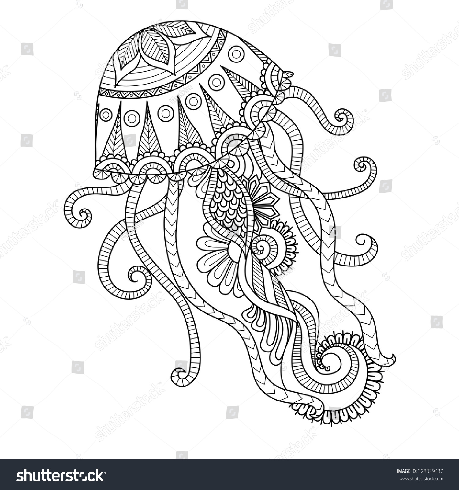 Hand Drawn Jellyfish Zentangle Style Coloring Stock Vector 328029437