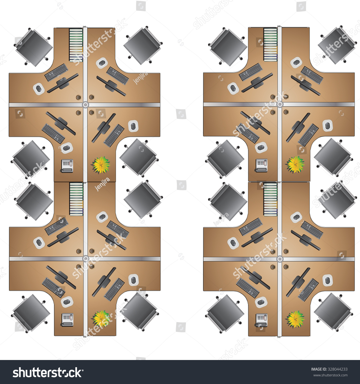 Office Furniture Workstation Top View Interior Stock