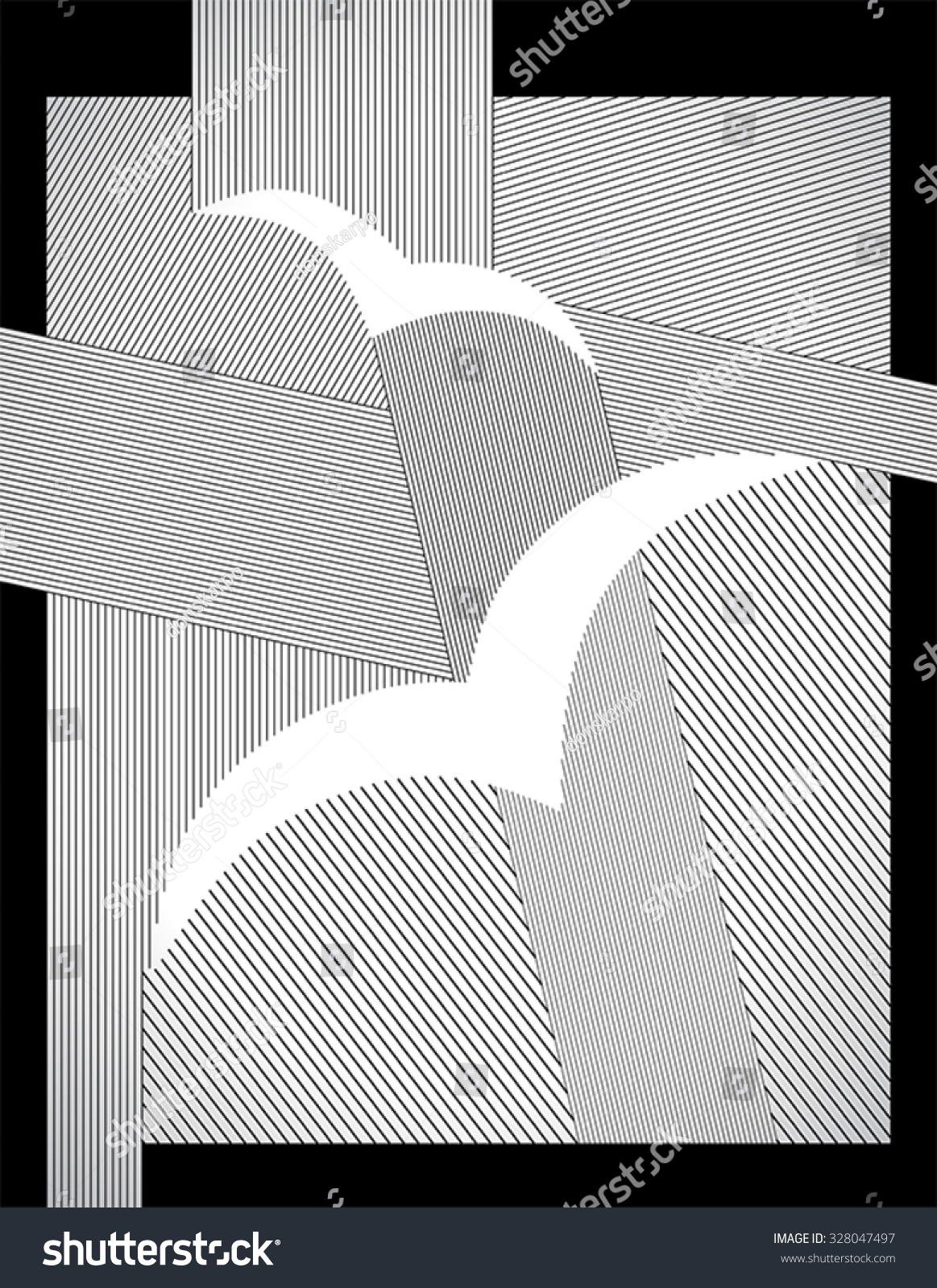 Vector Drawing Straight Lines : Birds abstract drawing with straight lines and frame