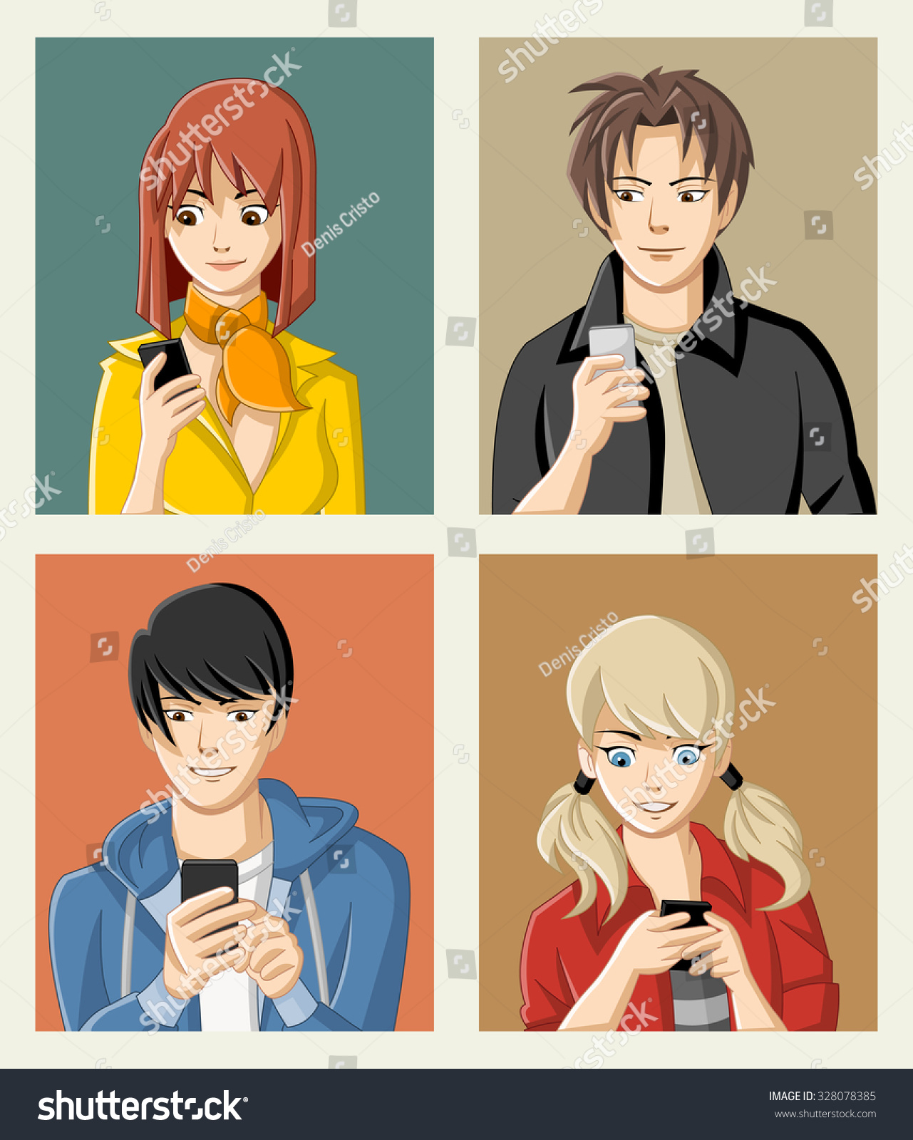 Group of cartoon young people with smart phones manga anime teenagers