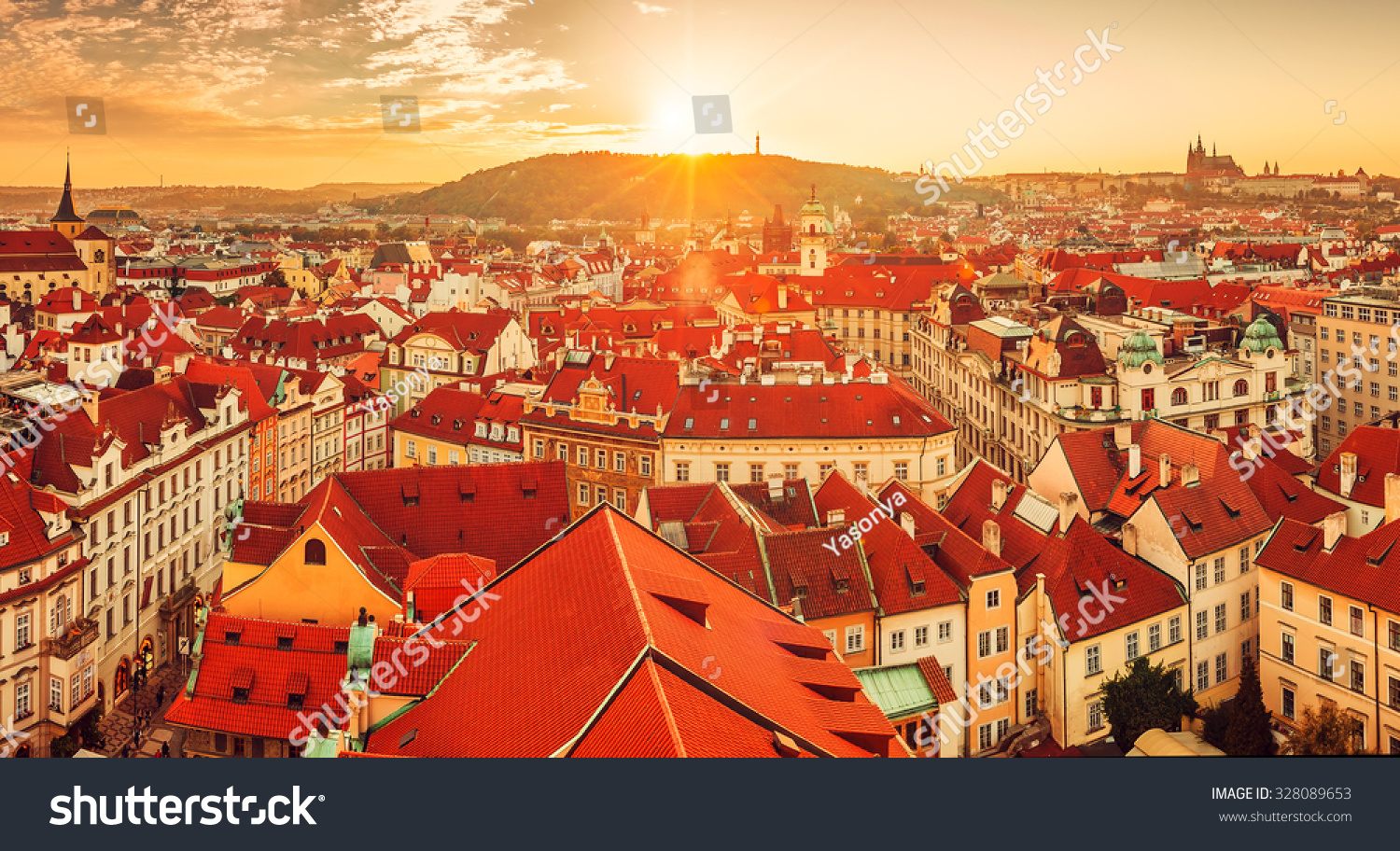 Wonderful Top View To Red Roofs Skyline Of Prague City Czech Republic. Illustration