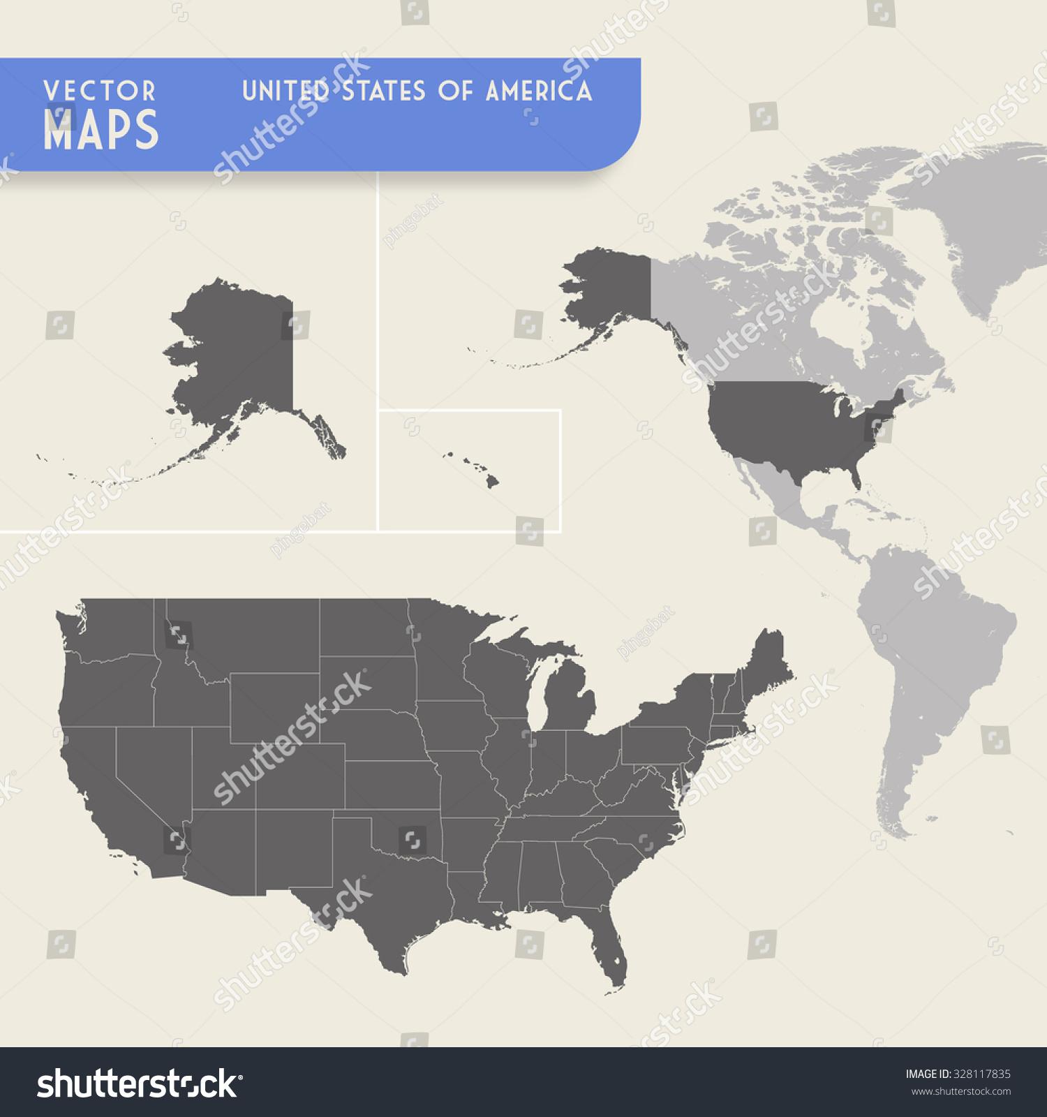 Vector Map United States America Minimap Stock Vector - Map of the united states continents