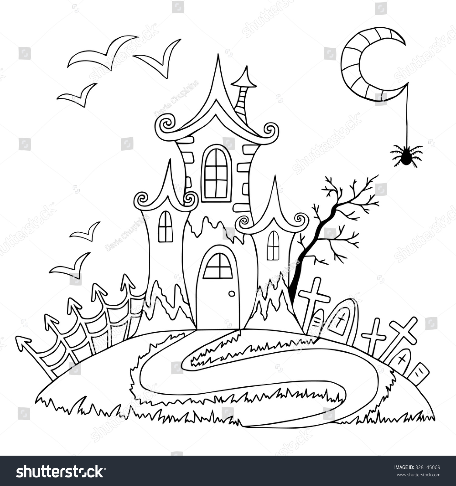 Doodle Halloween Coloring Book Vector Illustration With Spooky Castle And Bats Tree