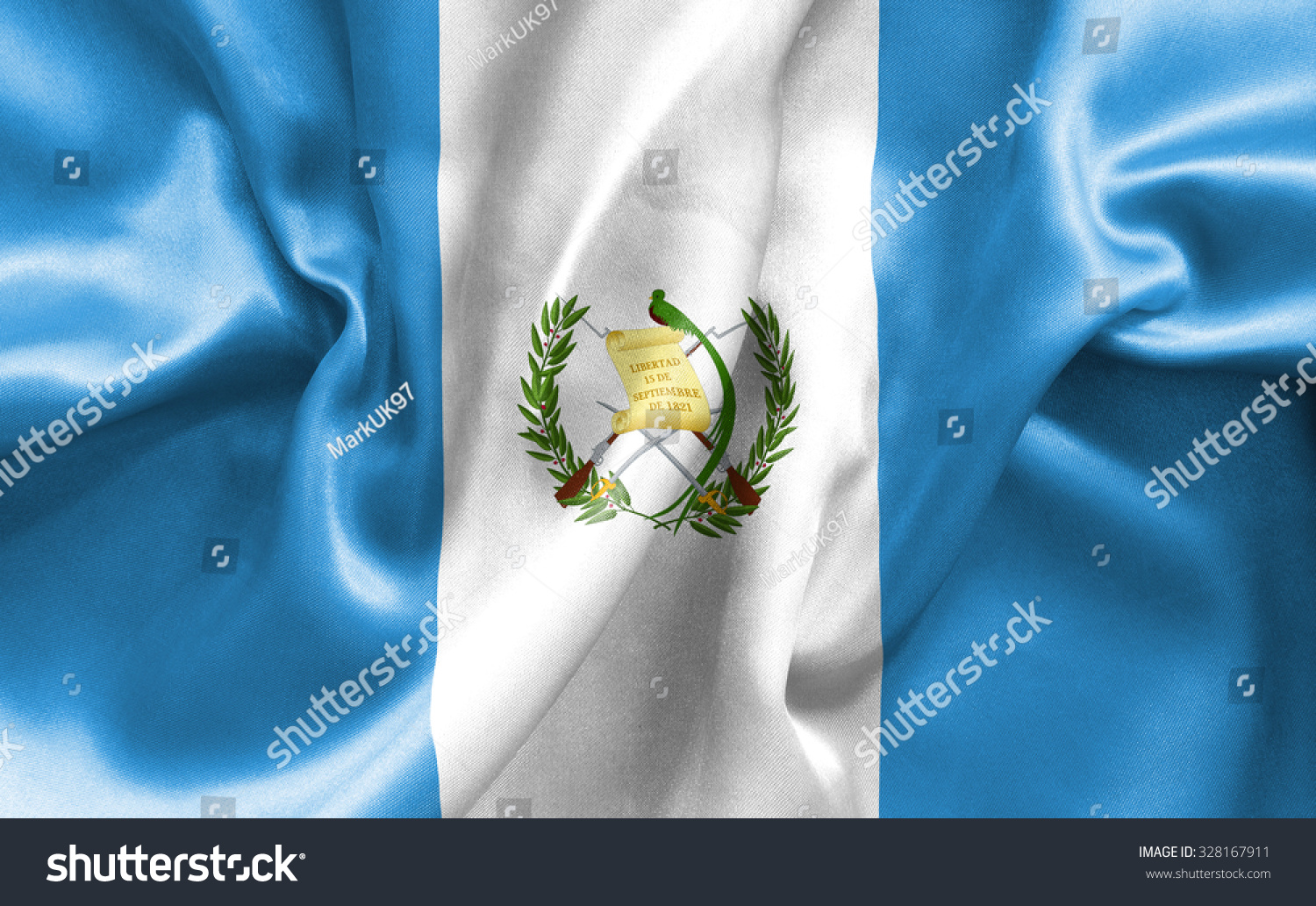 Guatemala Flag Texture Creased And Crumpled Up With Light And