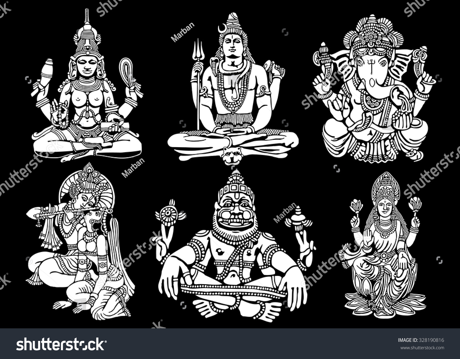 Vector set of Hindu Gods