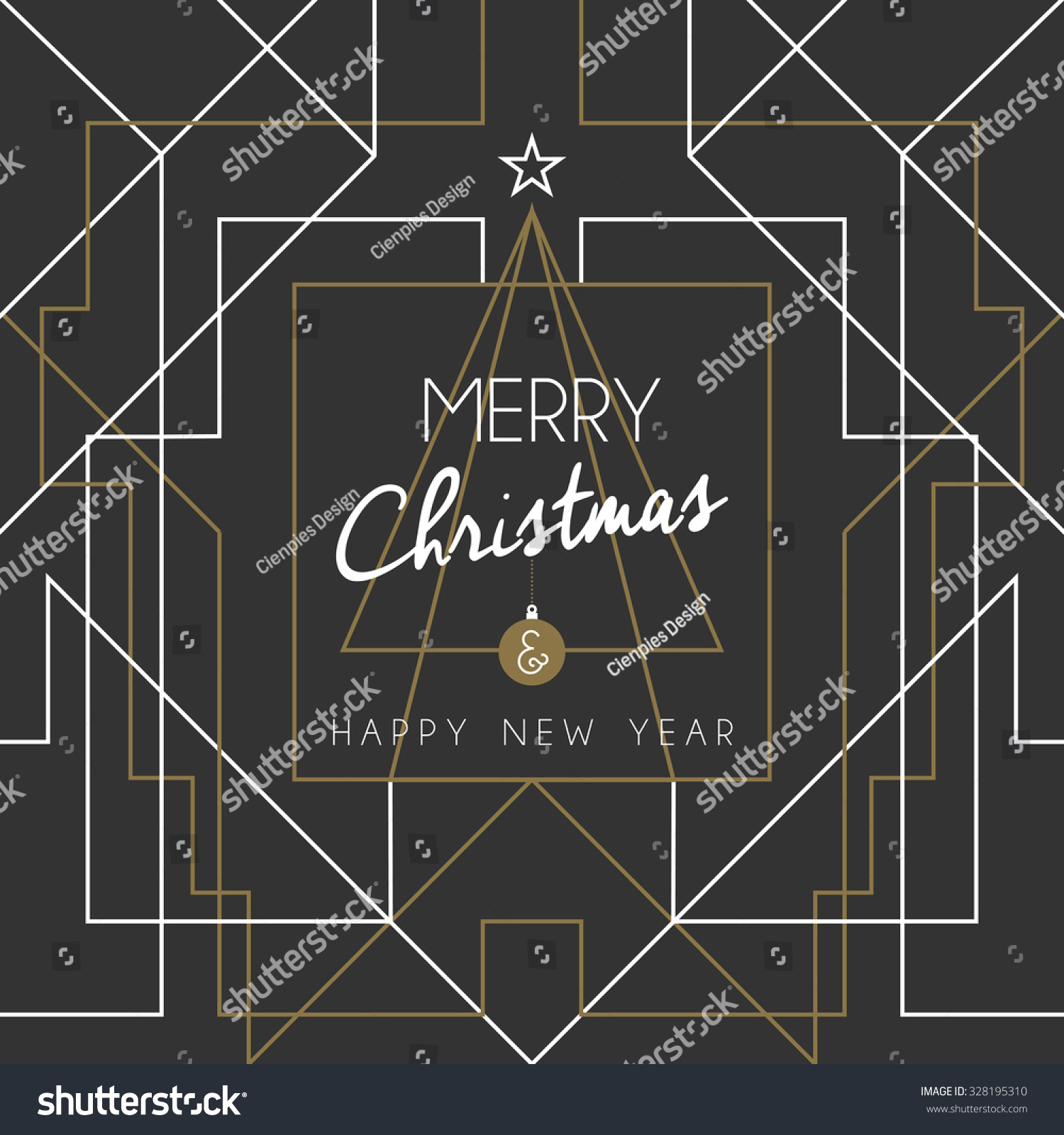 merry christmas and happy new year holiday greeting card geometry lines art deco style