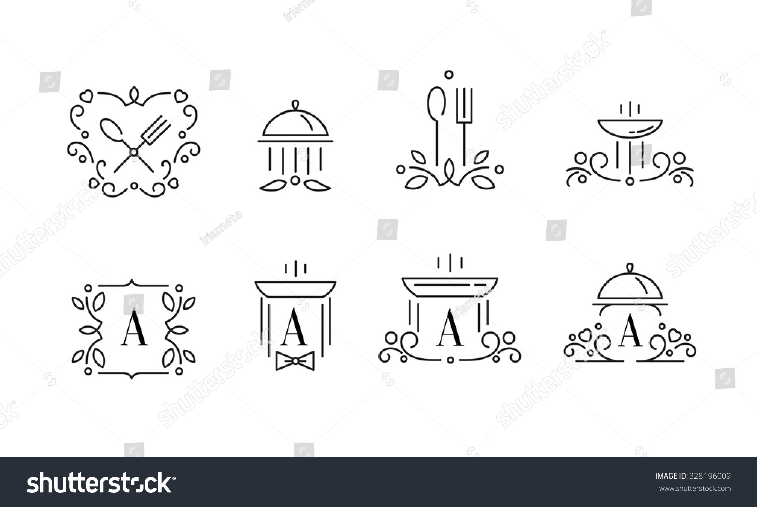 elegant design logo template outline food stock vector royalty free