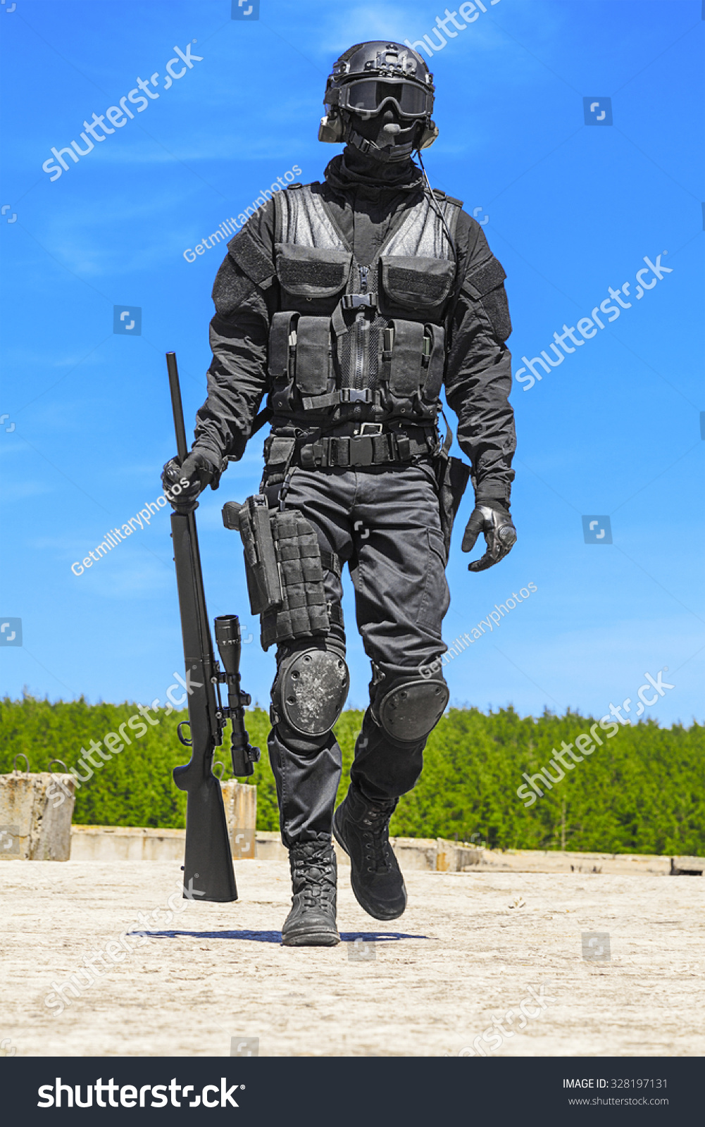 Swat Police Operator Sniper Rifle Black Stock Photo Edit Now