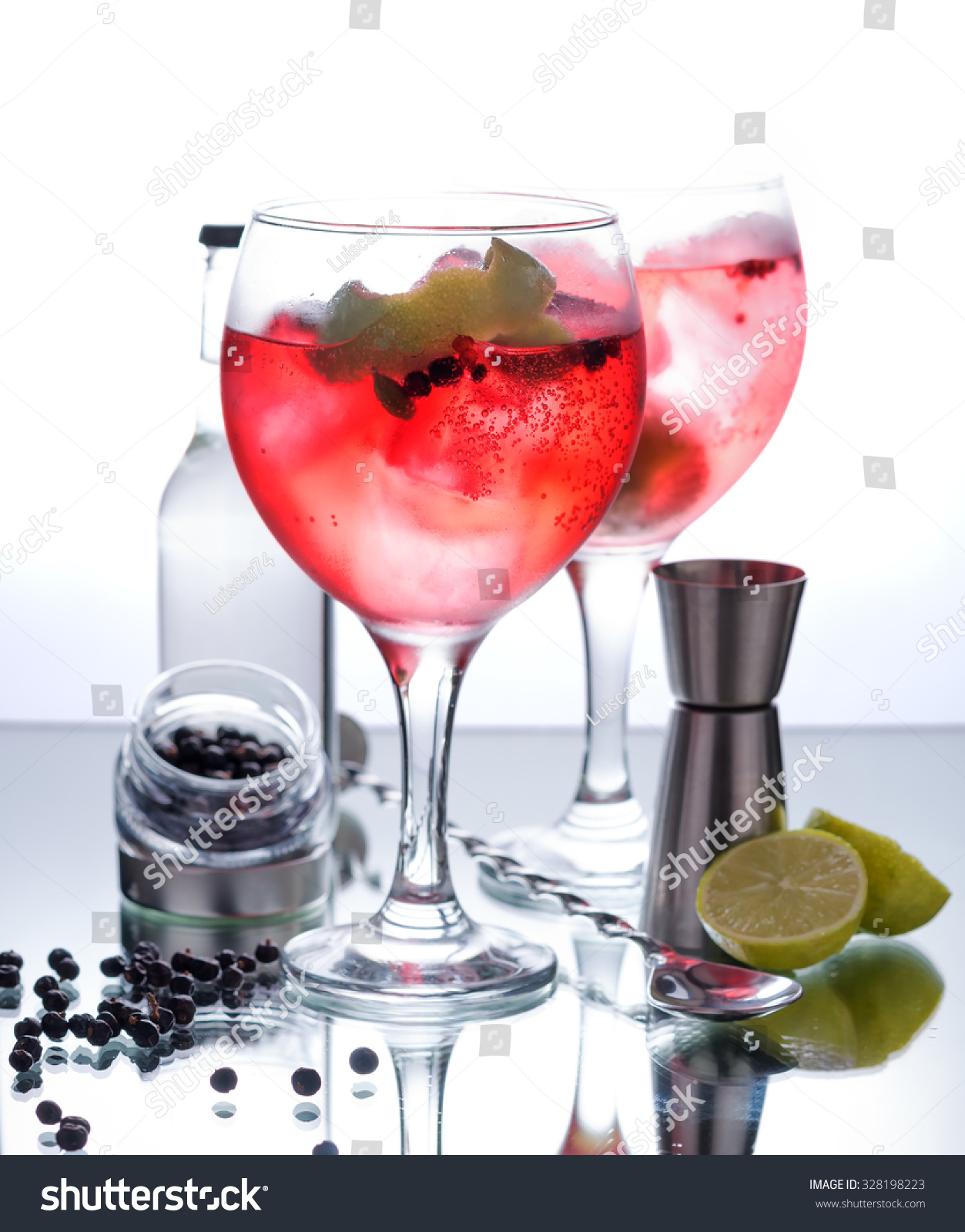 photographs gin tonic red fruits glass stock photo 328198223