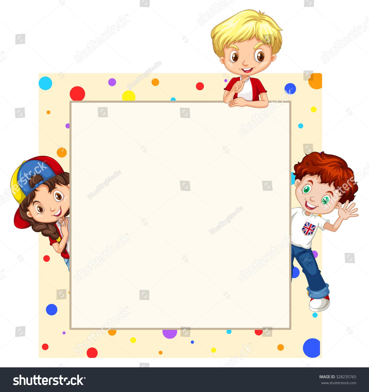 Border Design With Children Illustration - 328235765 : Shutterstock