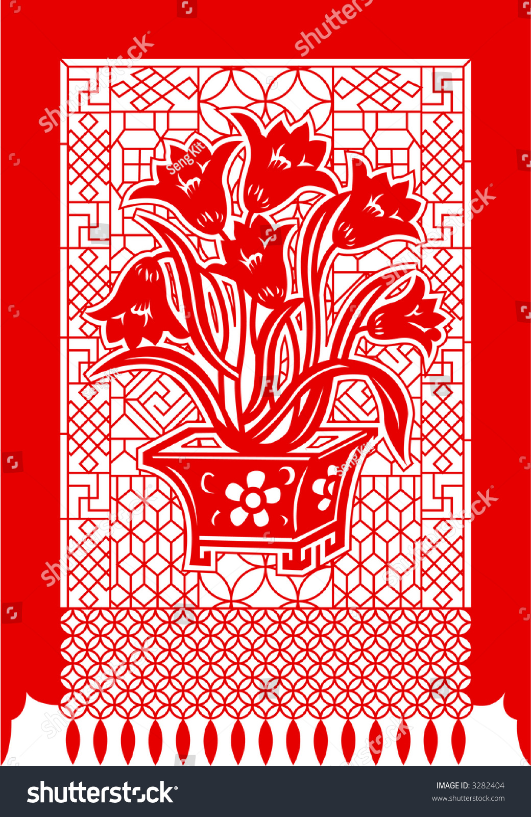 Chinese Paper Cutting Series Plant Flower Stock Vector Royalty Free