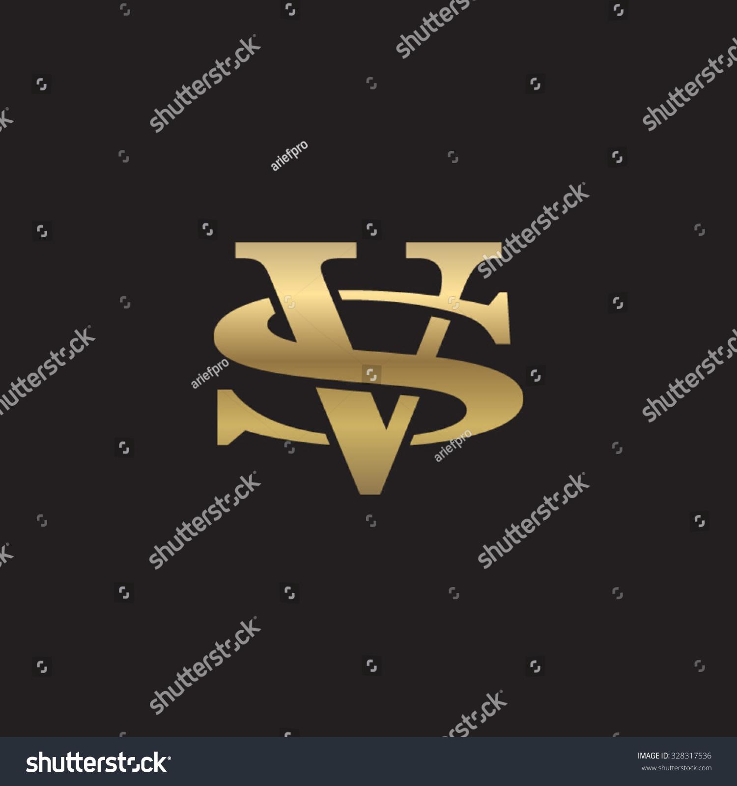 Royalty Free Letter S And V Monogram Golden Logo 328317536 Stock