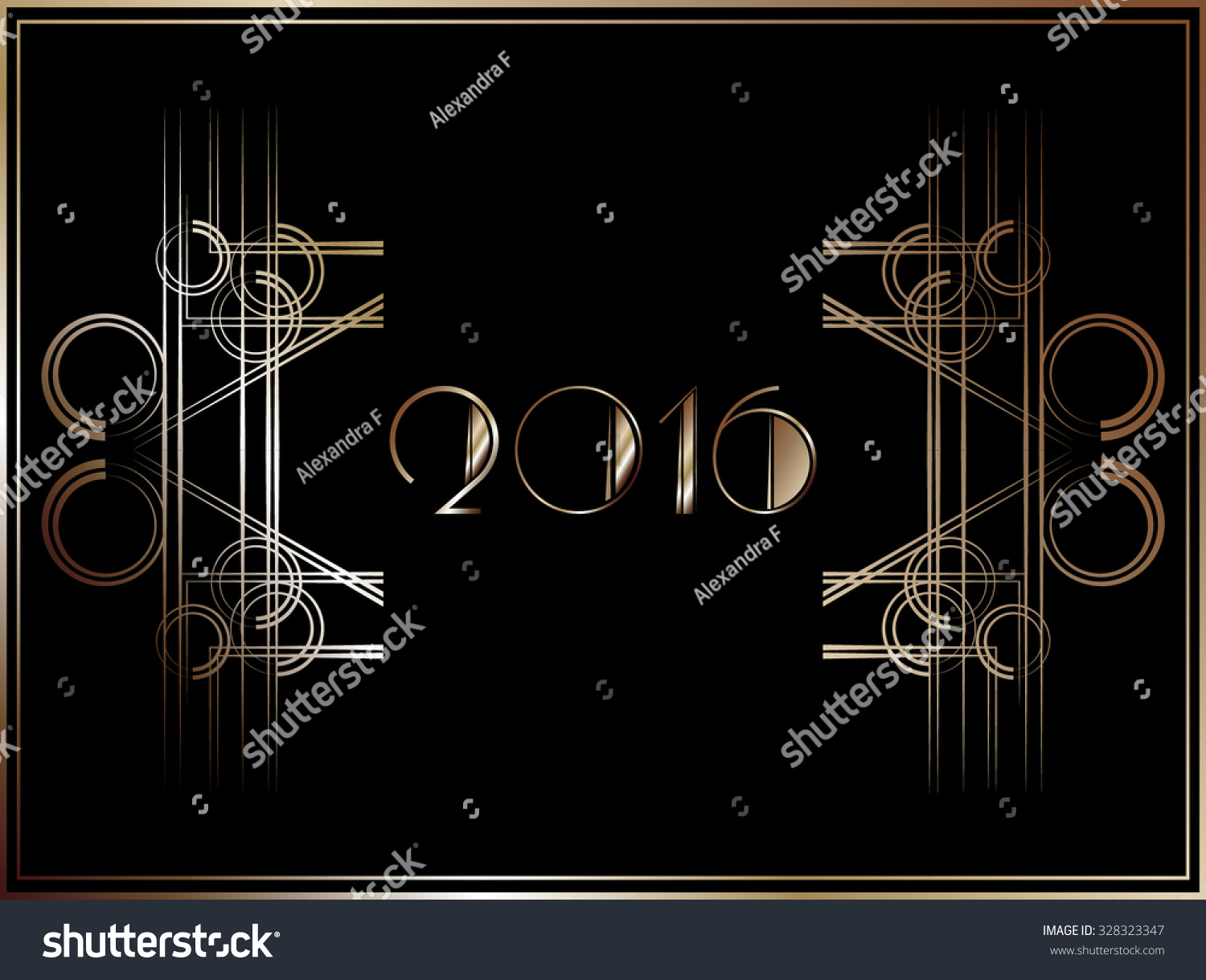 2016 art deco style banner in gold stock vector illustration 328323347 shutterstock. Black Bedroom Furniture Sets. Home Design Ideas