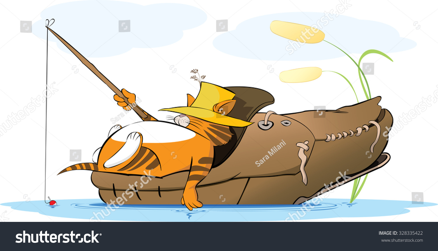 Vector illustration fat cat fishing pond stock vector for Fishing shoes for the boat