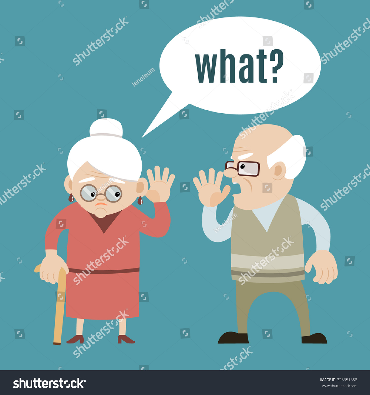 senior couple speaking old man hard stock vector 328351358 shutterstock. Black Bedroom Furniture Sets. Home Design Ideas