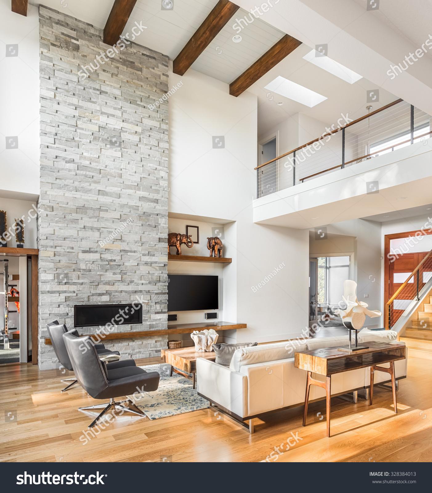 Beautiful Living Room Hardwood Floors Fireplace Stock Photo (Royalty ...