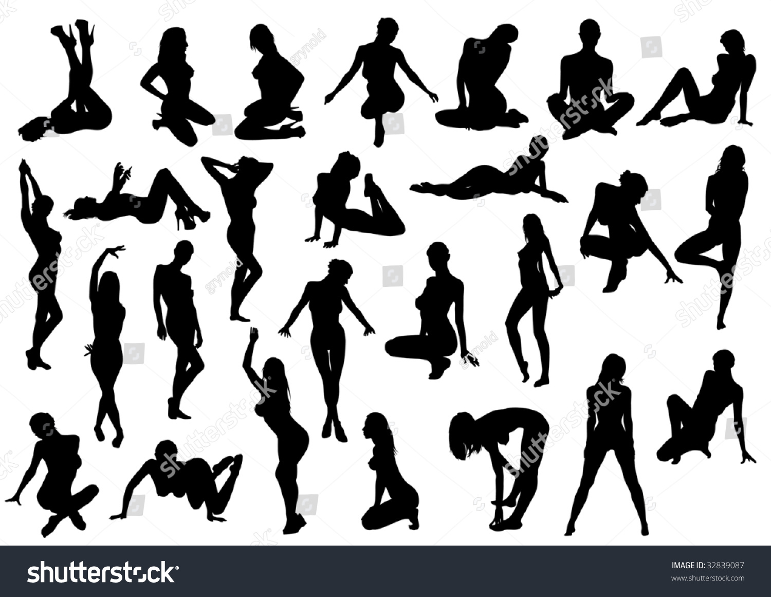 Drawing Female Body Various Poses Stock Illustration 32839087