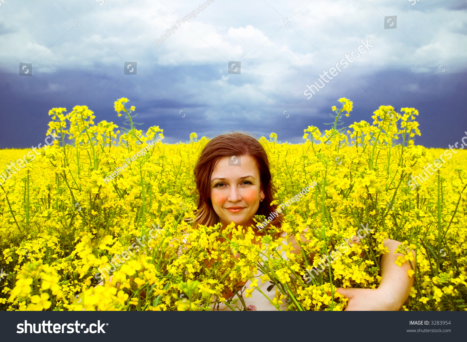 Girl In The Field Of Yellow Flowers Ez Canvas