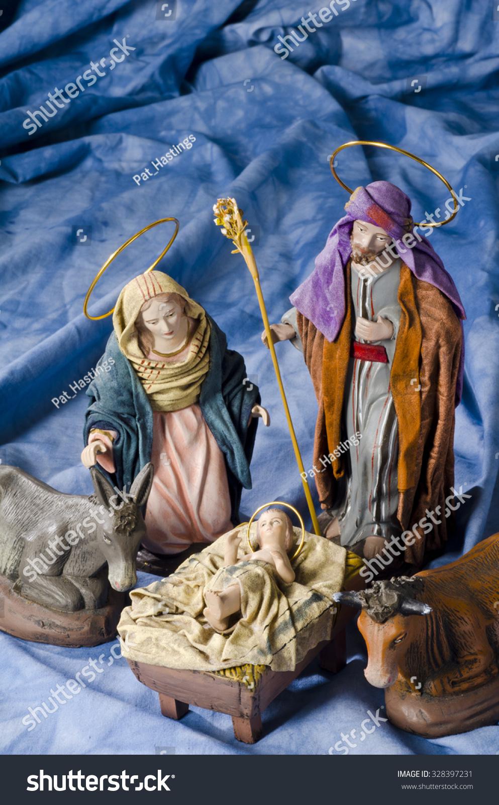 christmas crib figures baby jesus virgin stock photo 328397231