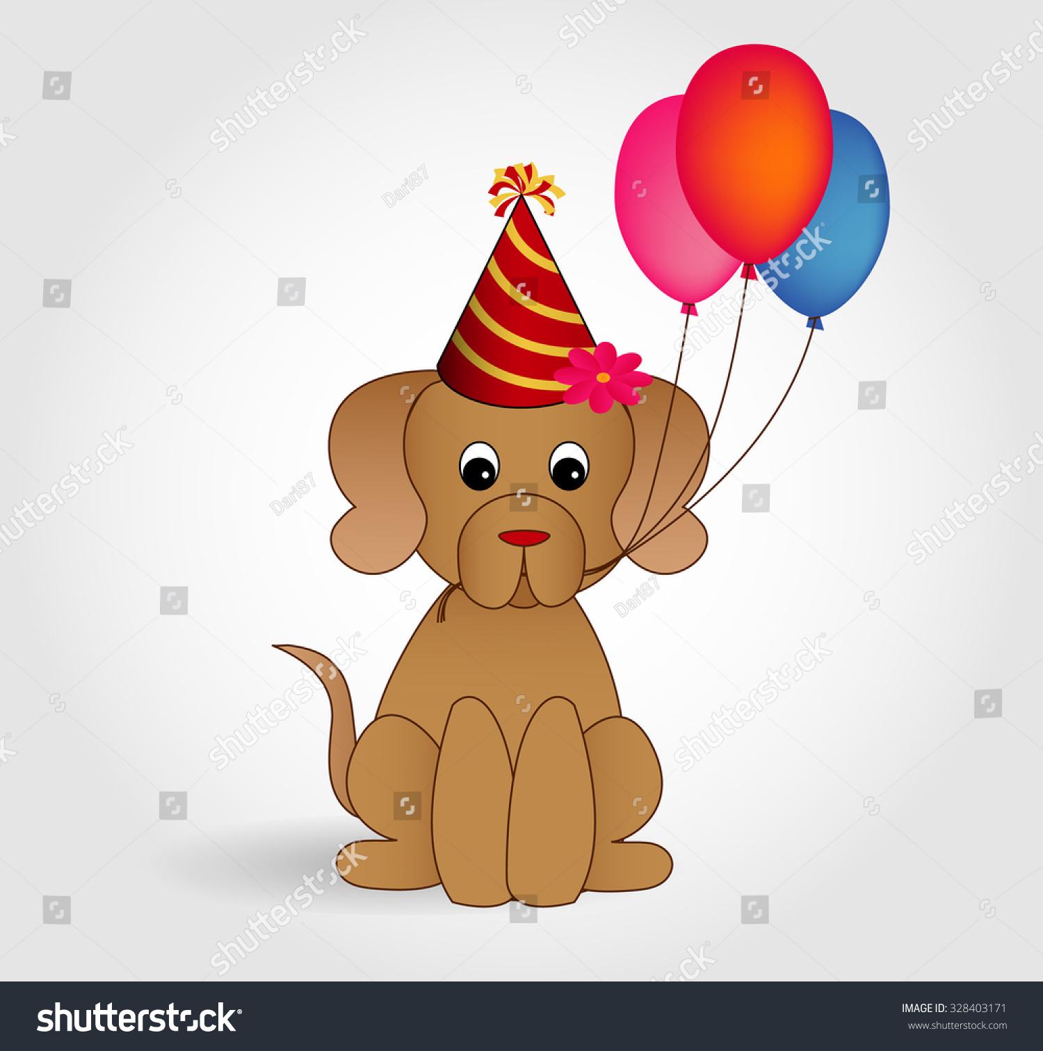 Cartoon Dog Character Wishing Happy Birthday Stock Vector Royalty Free 328403171