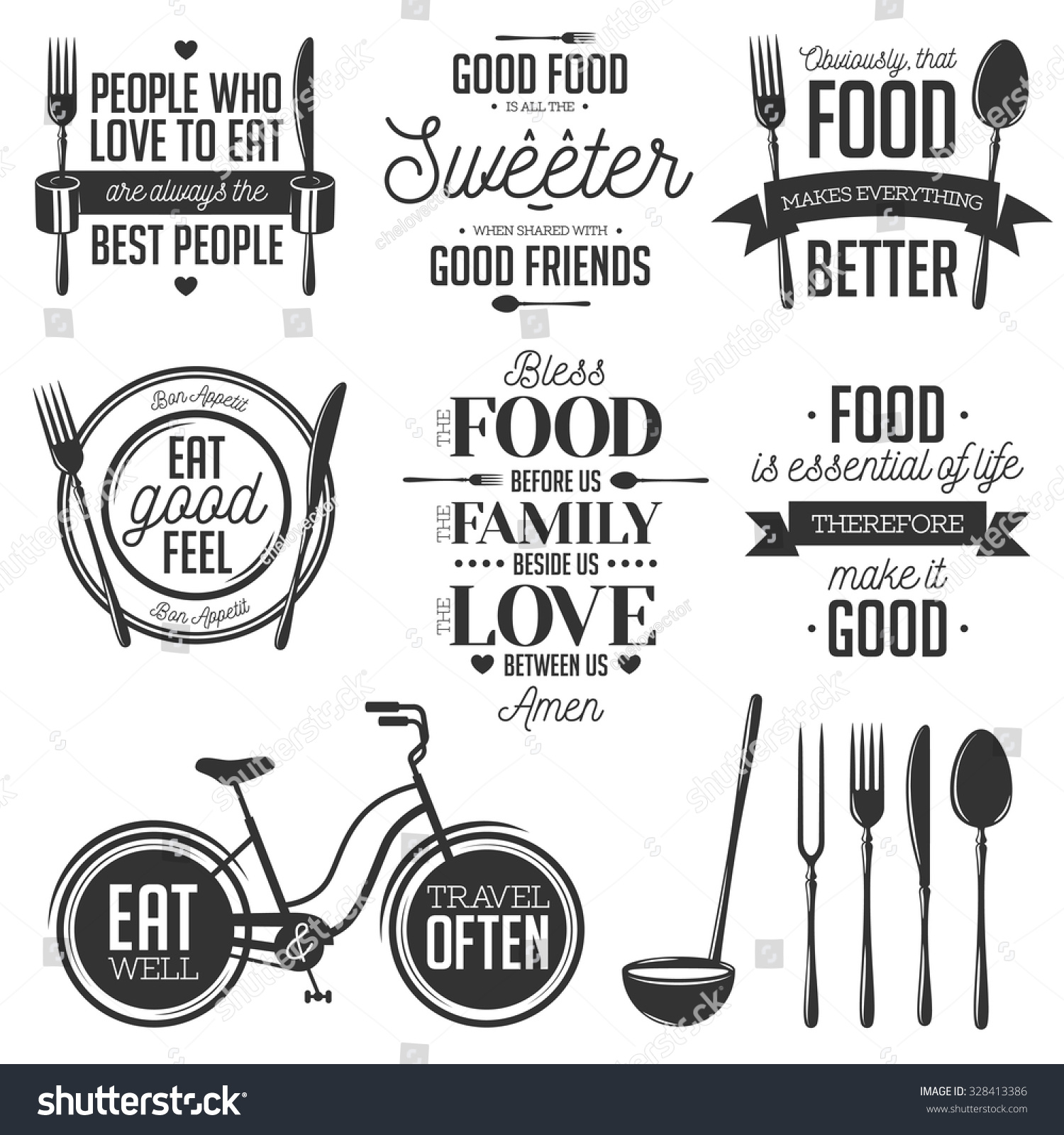 Kitchen Remodel Quotes: Set Vintage Food Related Typographic Quotes Stockvector